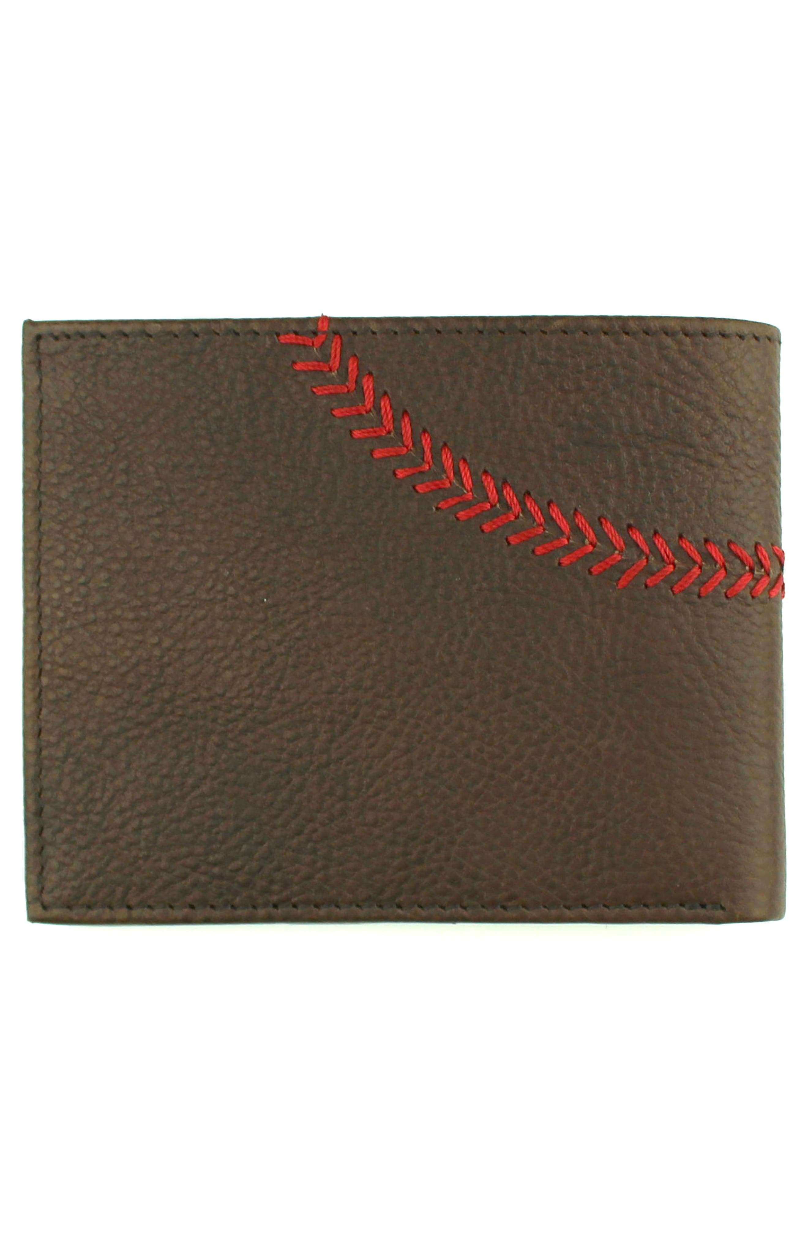 Home Run Bifold Leather Wallet,                             Alternate thumbnail 4, color,