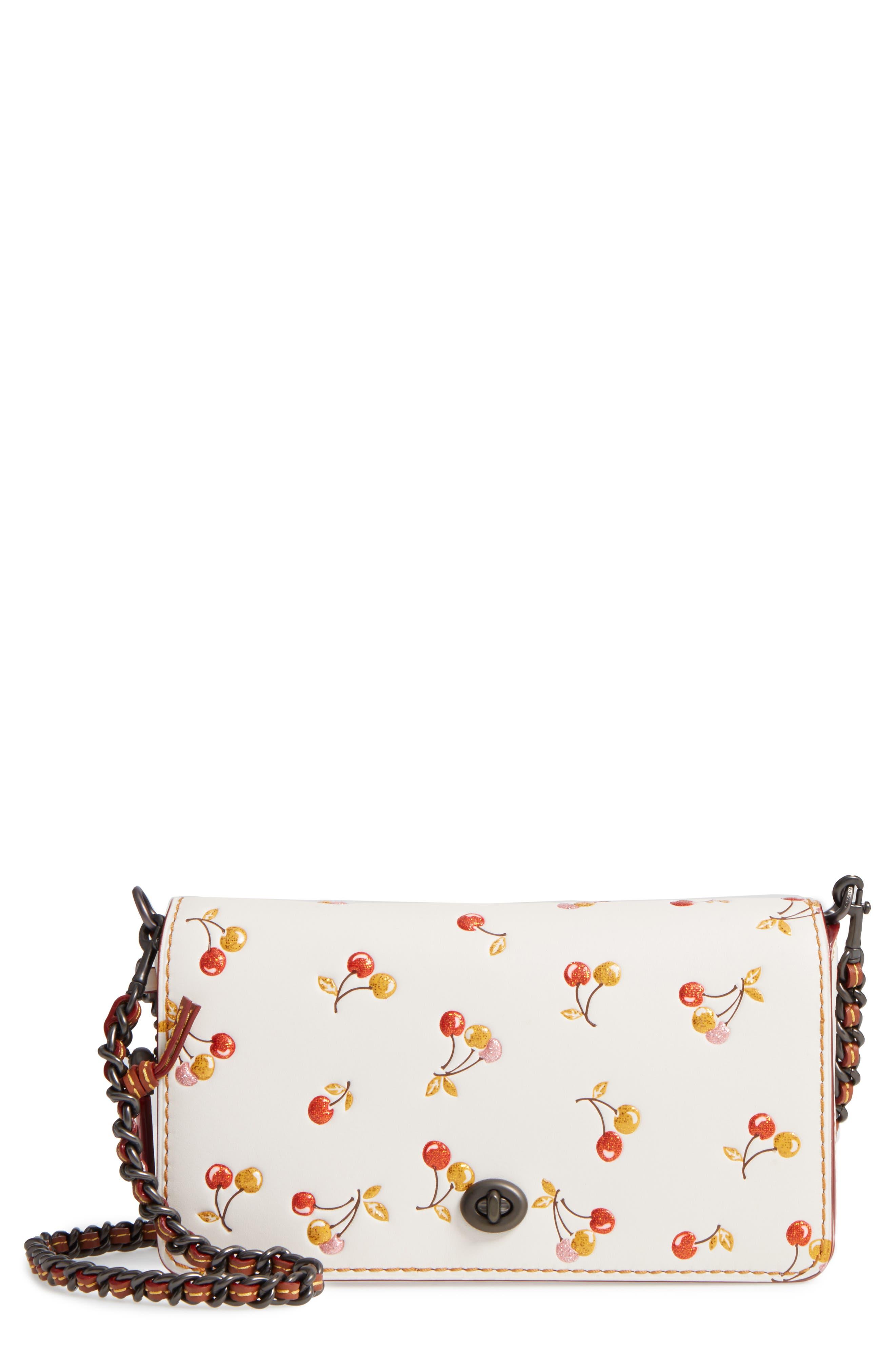 Cherries Dinky Leather Crossbody Bag,                             Main thumbnail 1, color,                             250