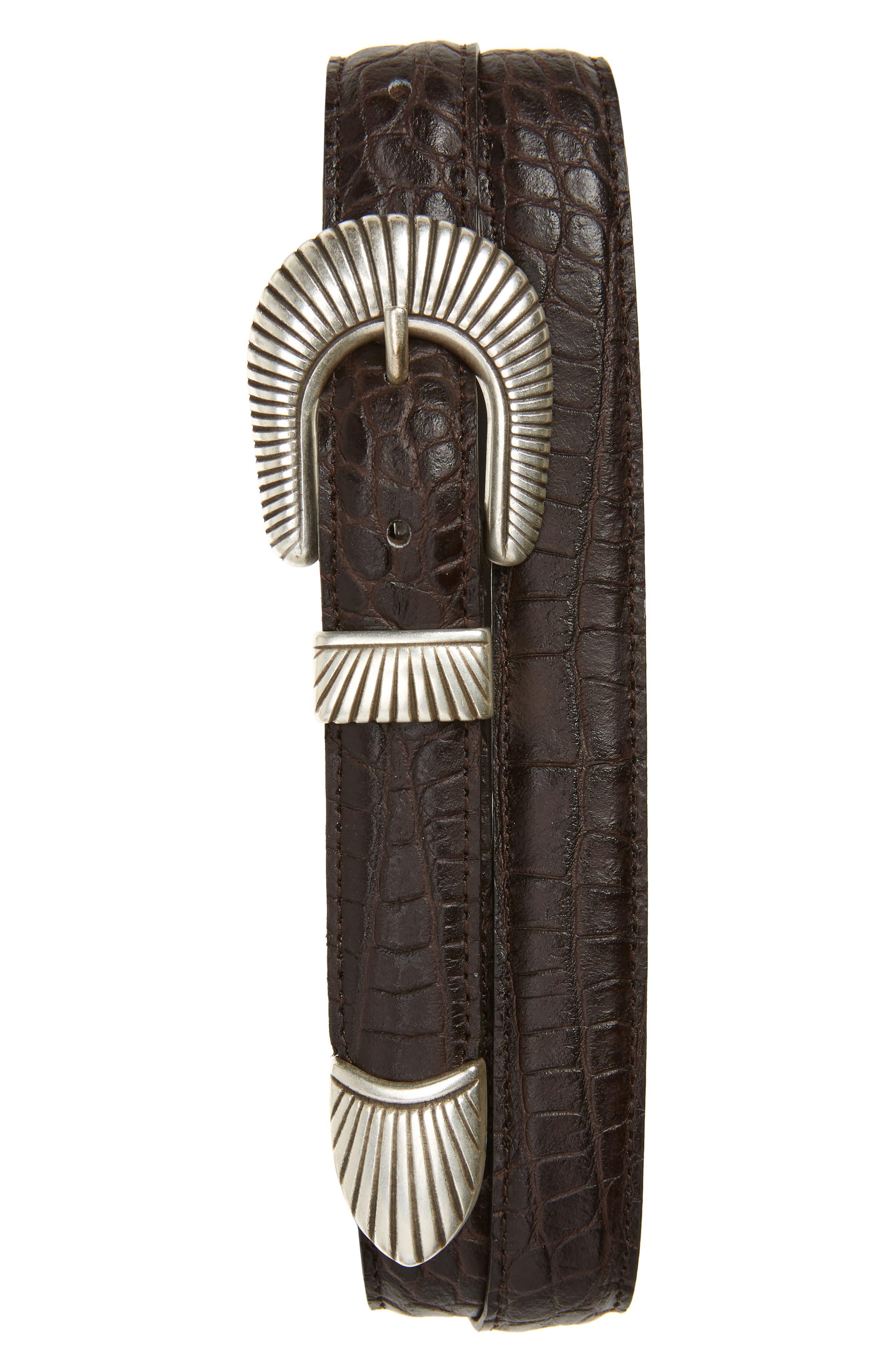 Croc Embossed Leather Belt,                         Main,                         color, BROWN