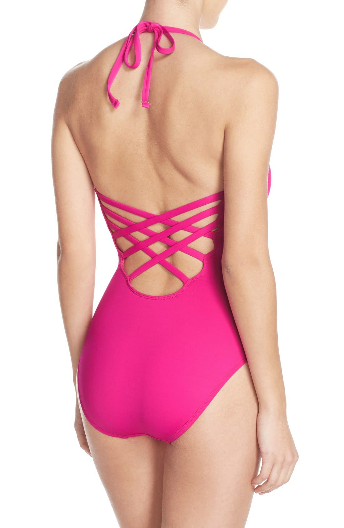 Caged Strap One-Piece Swimsuit,                             Alternate thumbnail 20, color,
