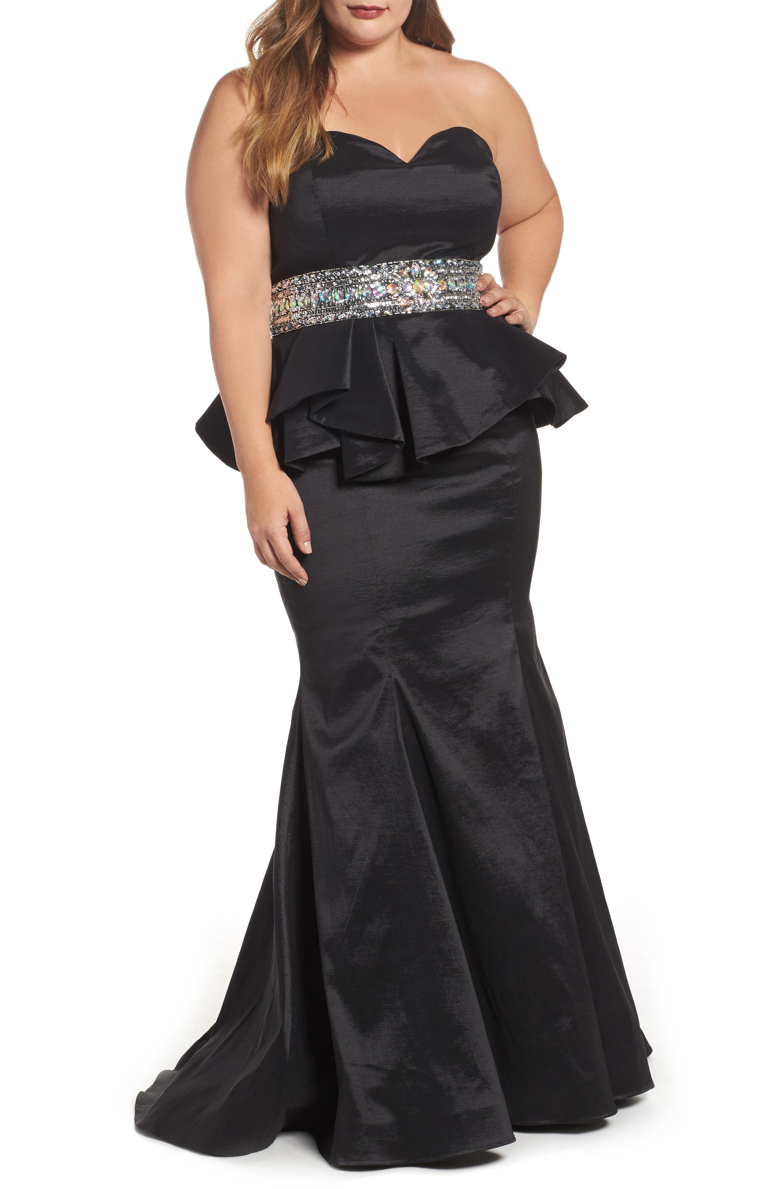 Beaded Bustier Peplum Gown,                             Main thumbnail 1, color,                             001