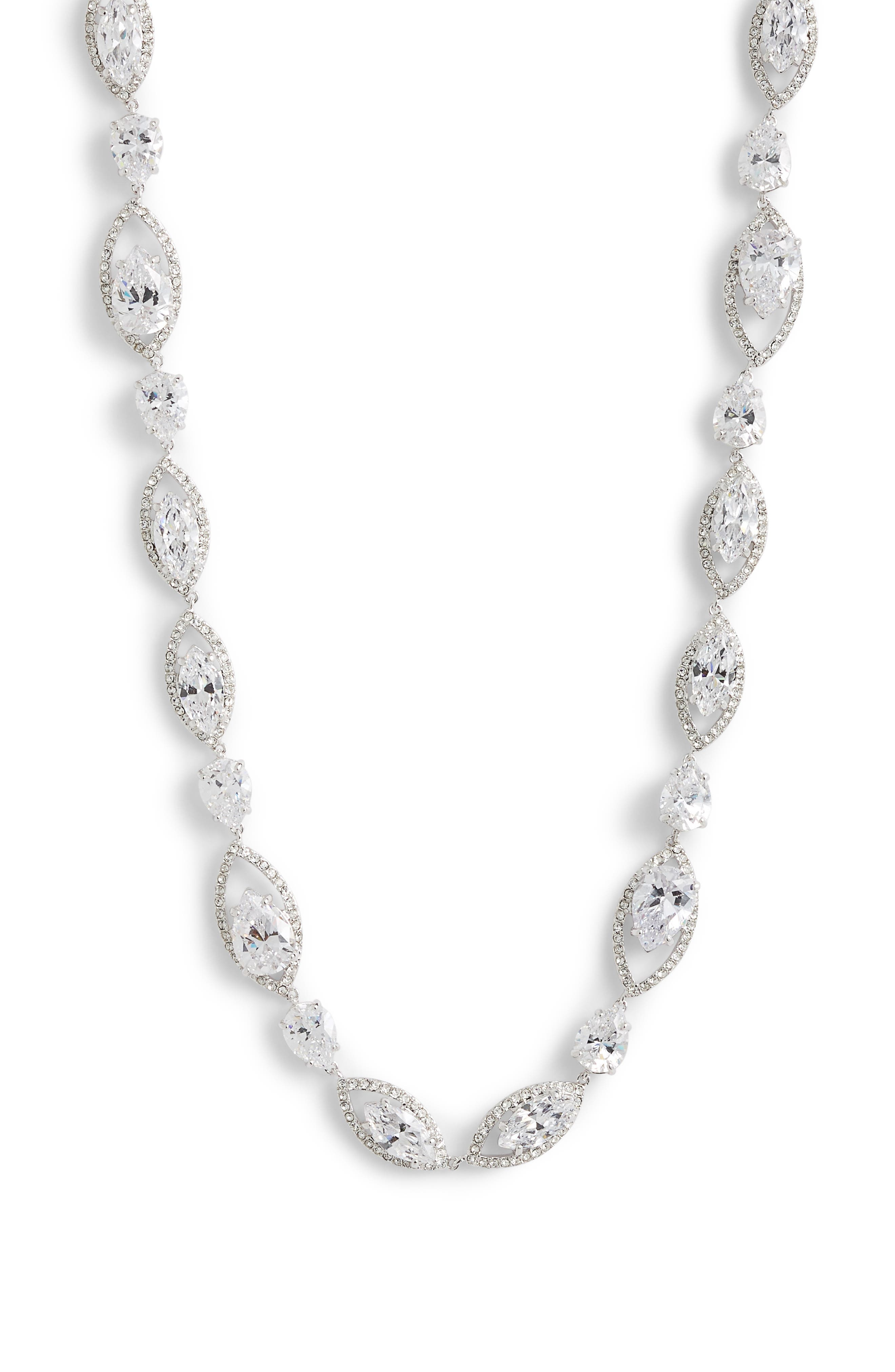 Navette Cubic Zirconia Collar Necklace,                         Main,                         color, CLEAR- SILVER