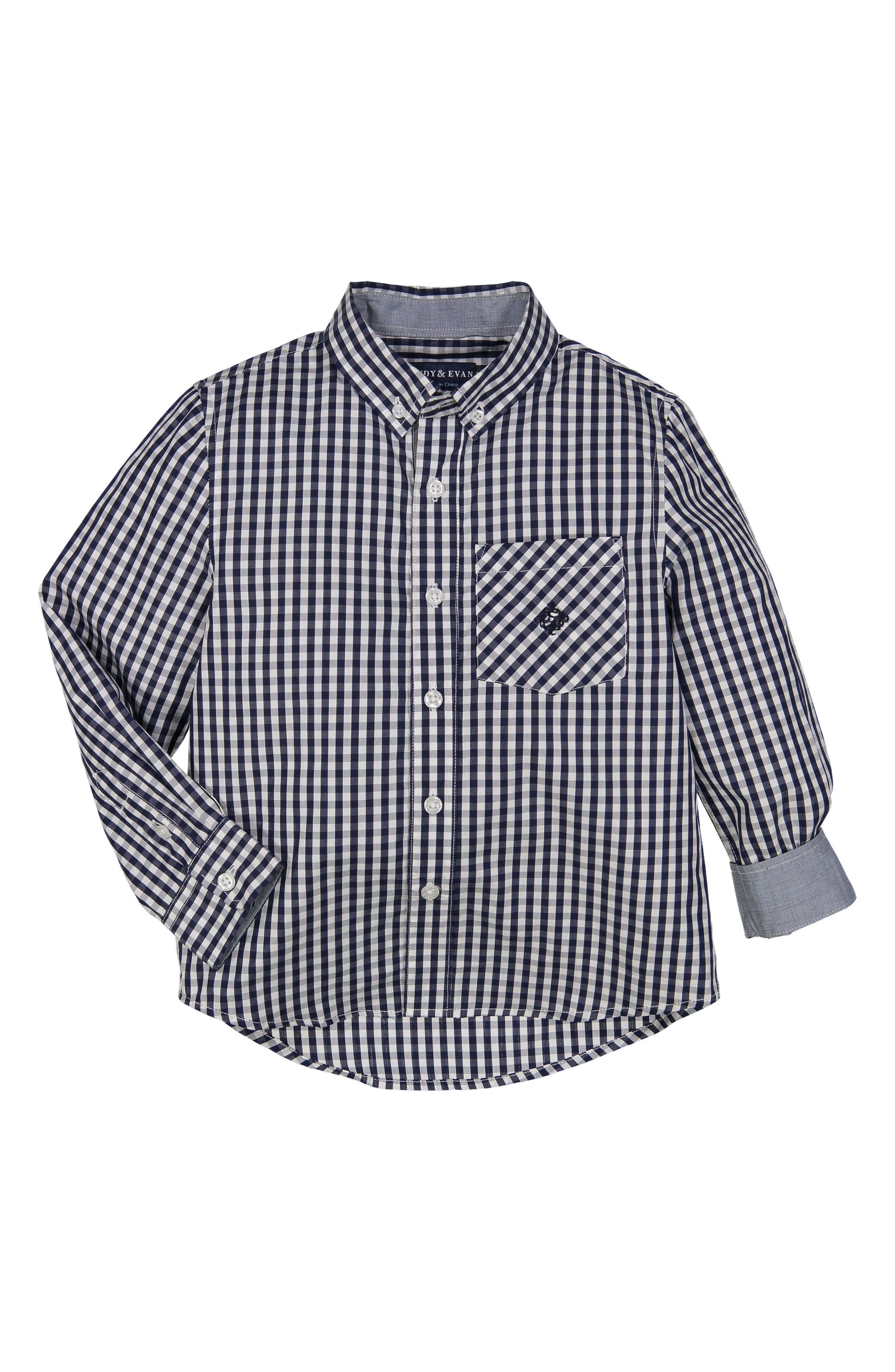 Gingham Check Woven Shirt,                         Main,                         color, 410
