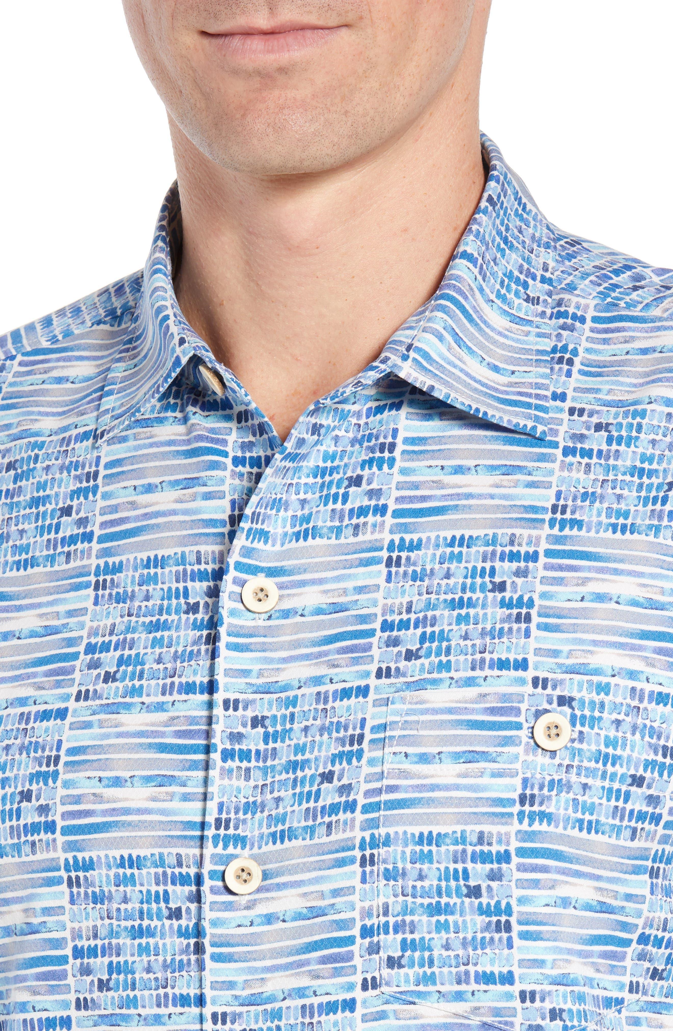 Rio Geo Short Sleeve Silk Blend Sport Shirt,                             Alternate thumbnail 2, color,                             AQUA ICE
