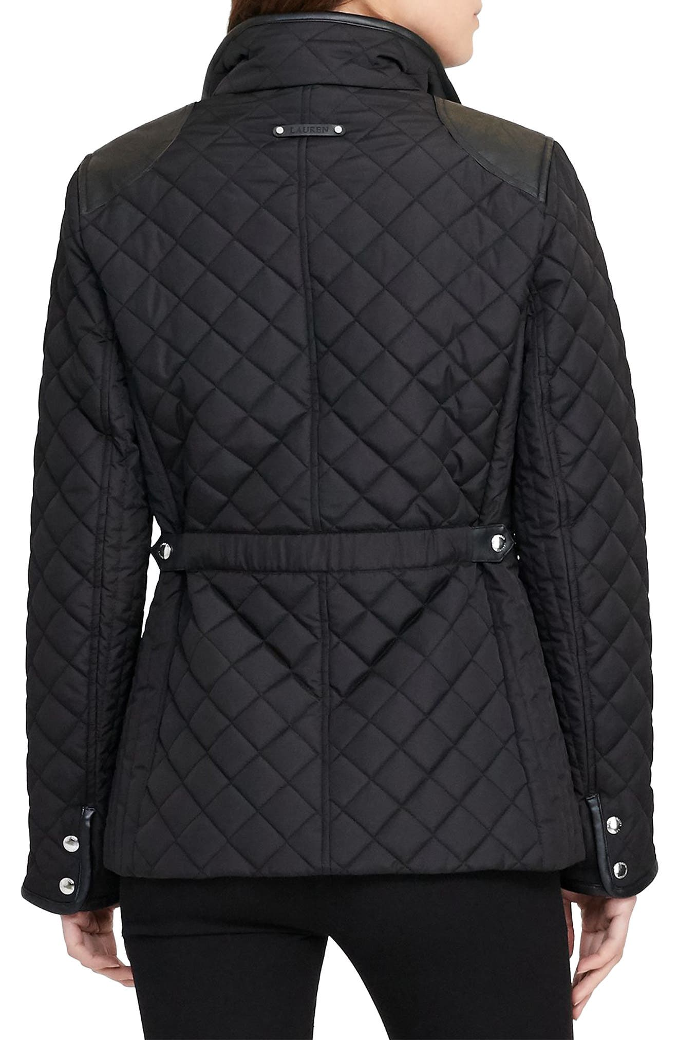 Faux Leather Trim Quilted Jacket,                             Alternate thumbnail 11, color,