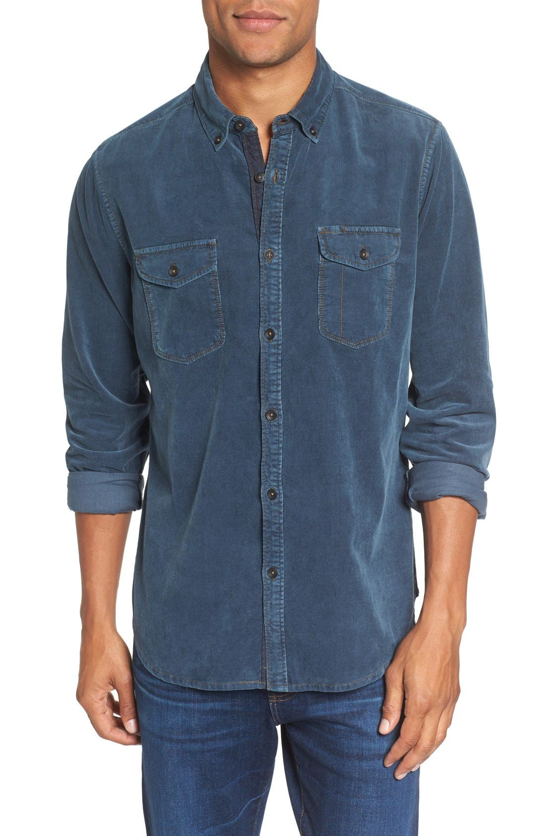 'Jaymes' Pigment Dyed Corduroy Shirt,                             Main thumbnail 4, color,