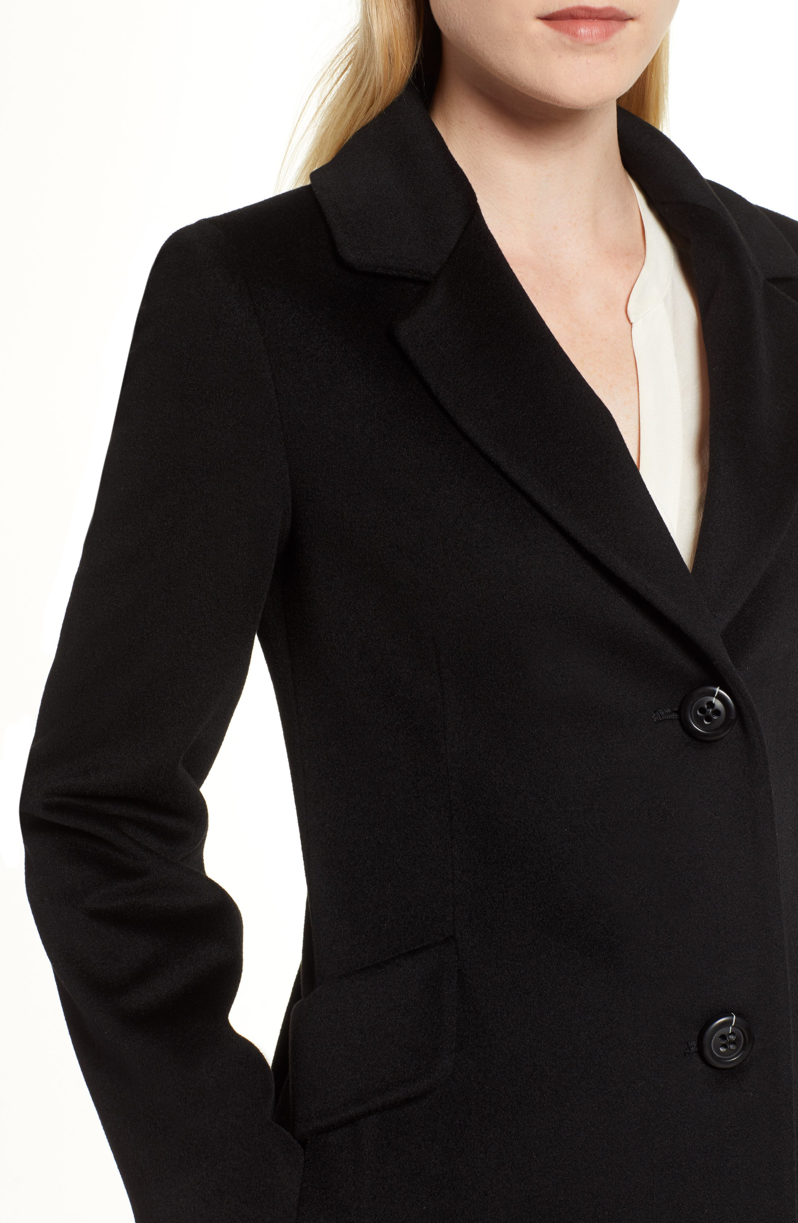 Notch Collar Wool Coat,                             Alternate thumbnail 4, color,                             BLACK