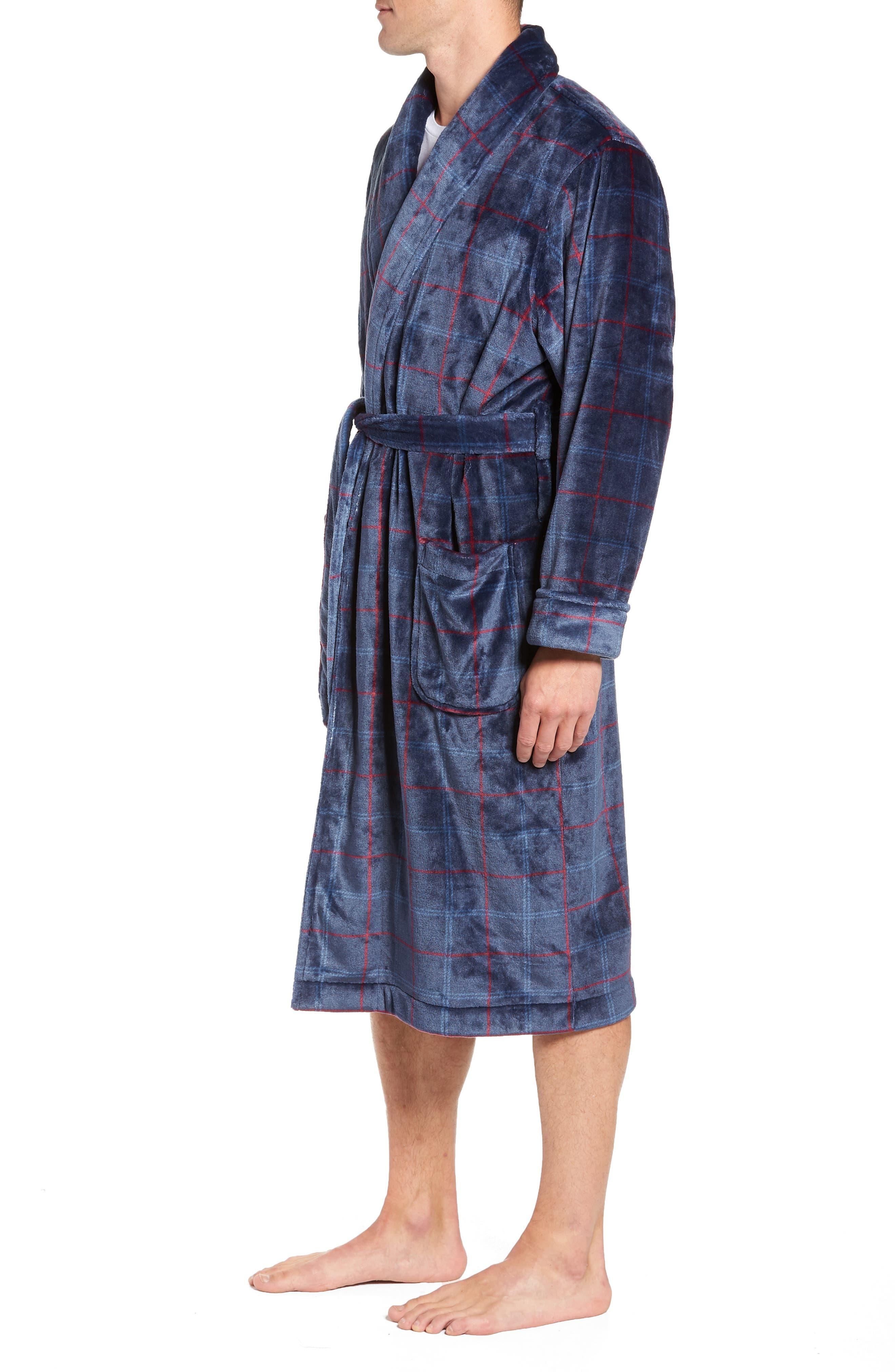 Windowpane Fleece Robe,                             Alternate thumbnail 3, color,                             NAVY -RED WINDOWPANE