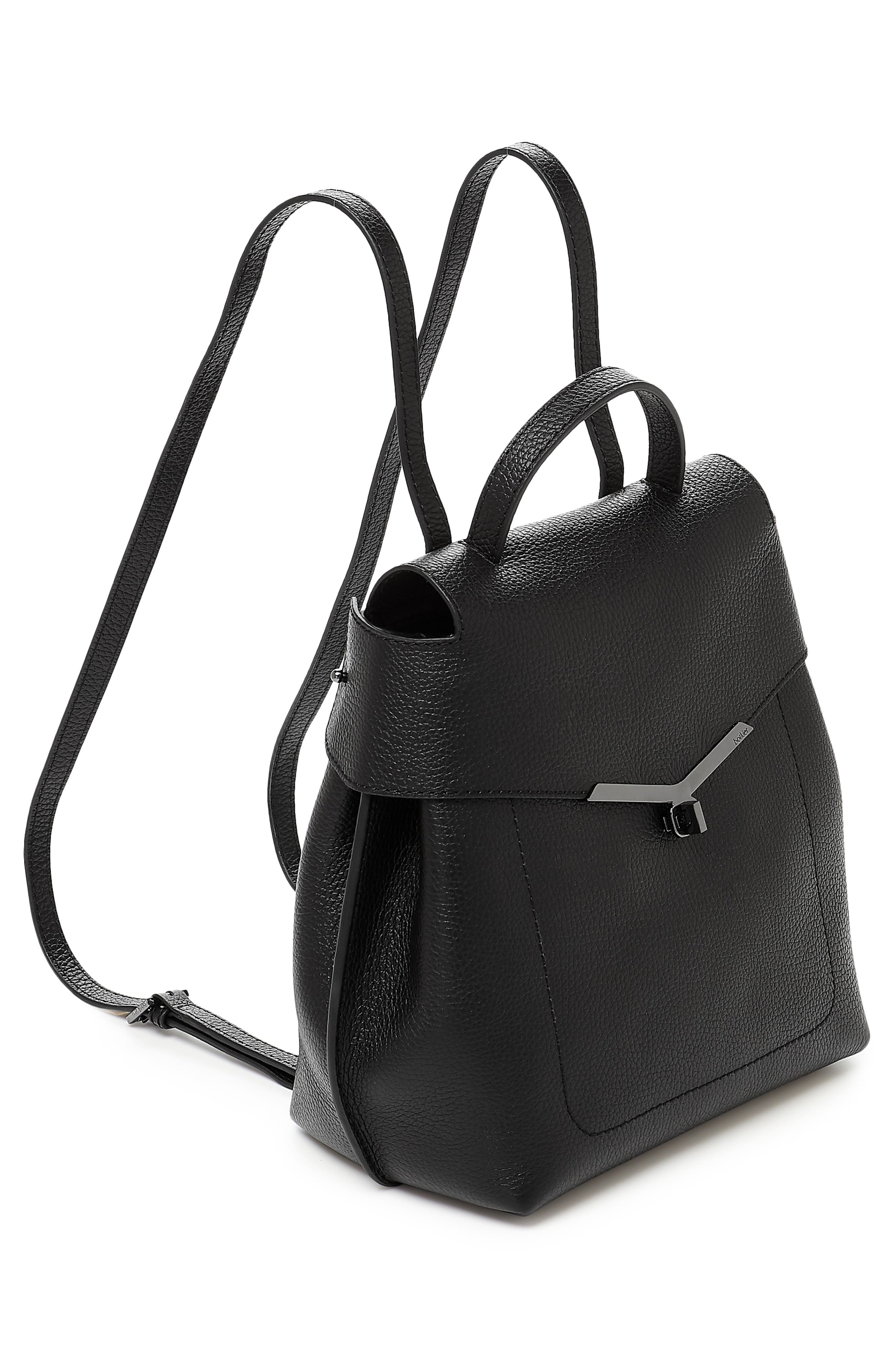 Valentina Wrap Leather Backpack,                             Alternate thumbnail 4, color,                             BLACK