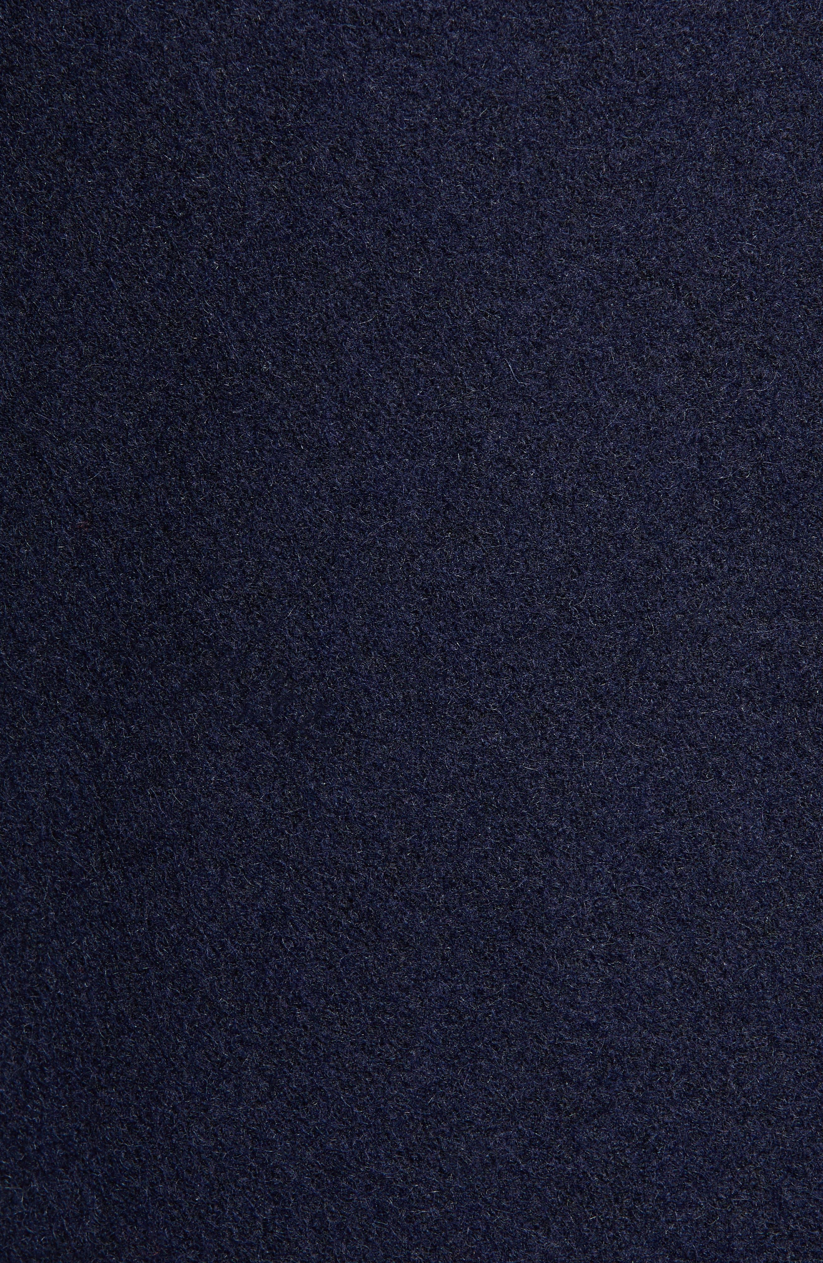 Slim Fit Wool Blend Peacoat,                             Alternate thumbnail 6, color,                             NAVY
