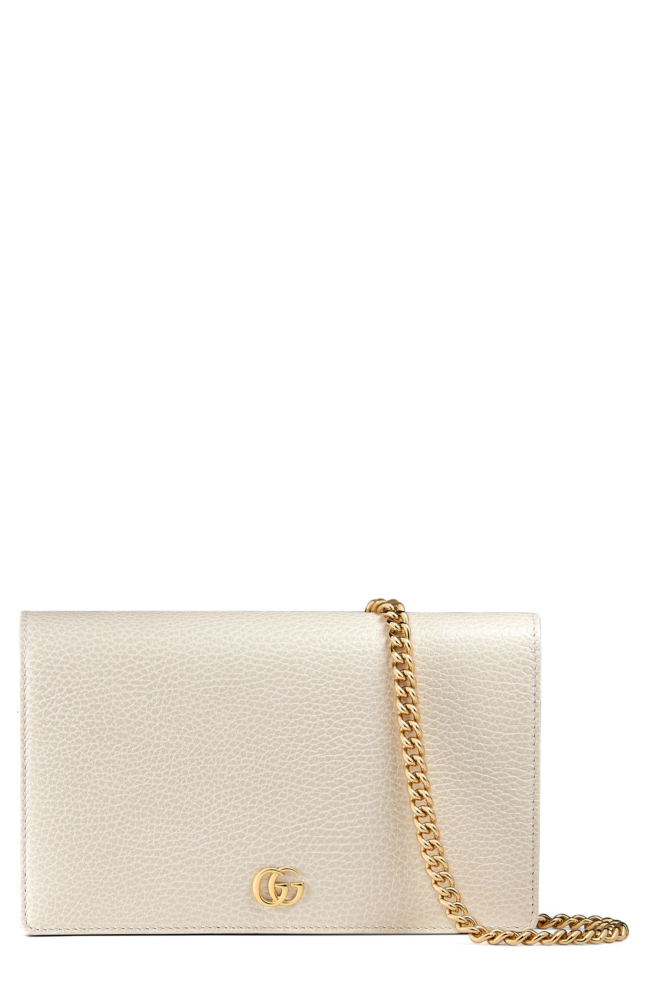 Petite Marmont Leather Wallet on a Chain,                             Main thumbnail 3, color,