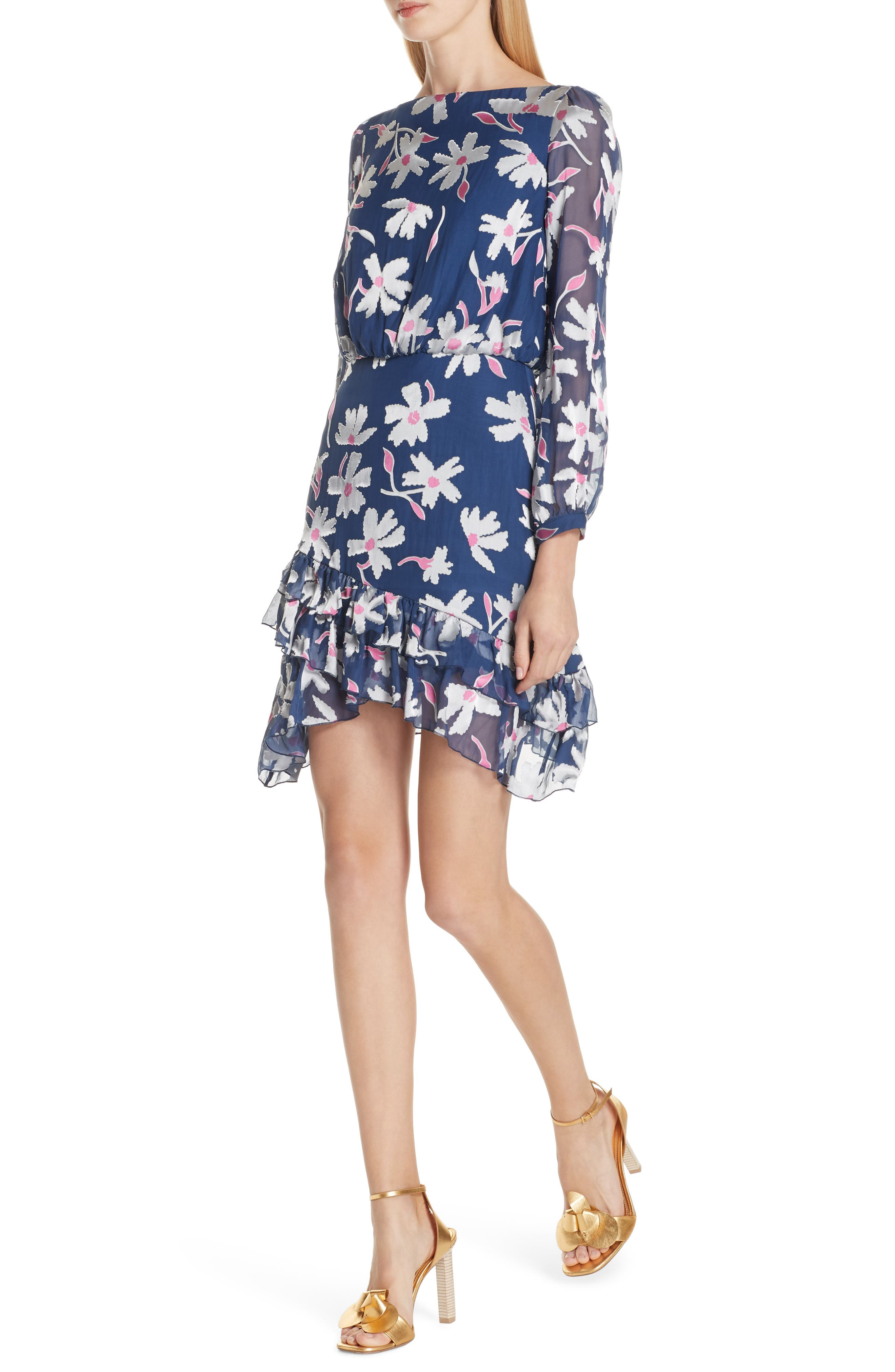 Felicia Asymmetrical Silk Blend Dress,                             Alternate thumbnail 4, color,                             WATER DAISIES