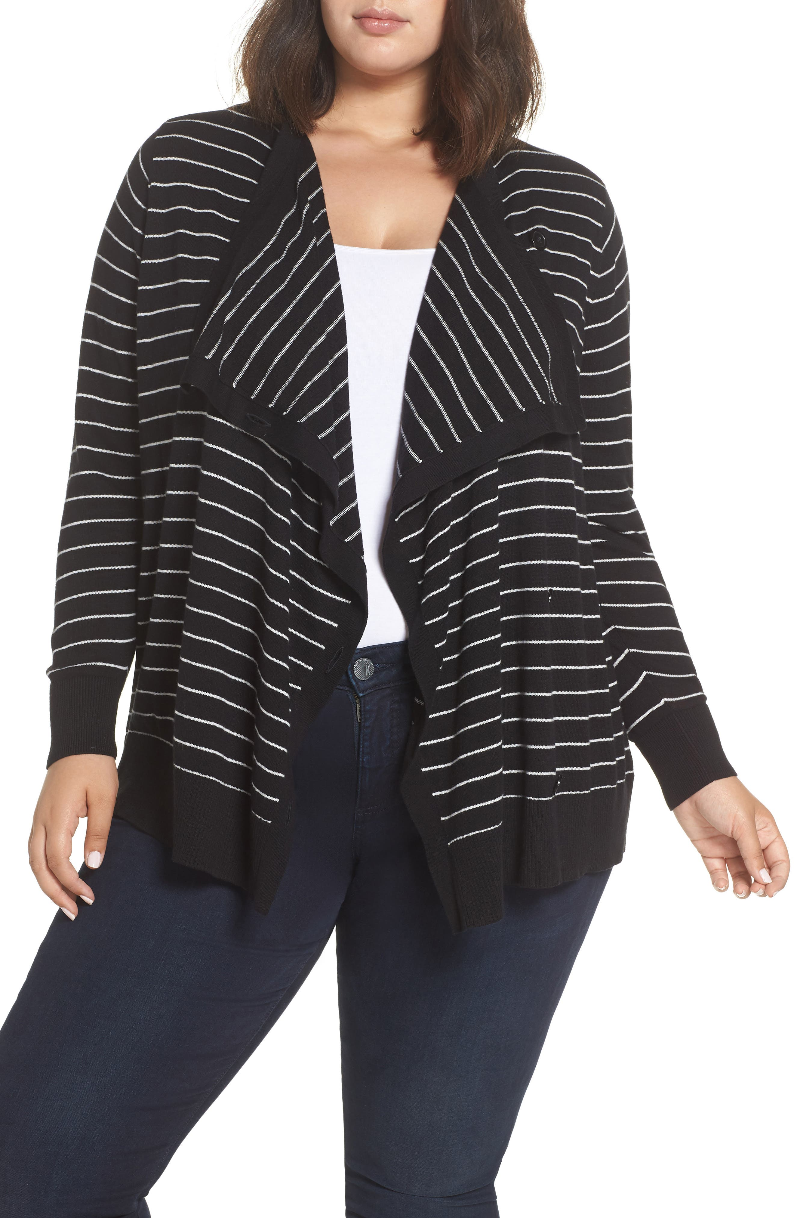 Button-Up Waterfall Cardigan,                             Main thumbnail 1, color,                             BLACK- IVORY DELIA STRIPE