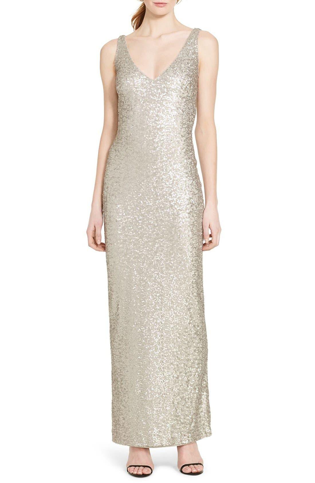 Sequin Mesh Gown,                             Main thumbnail 1, color,                             040