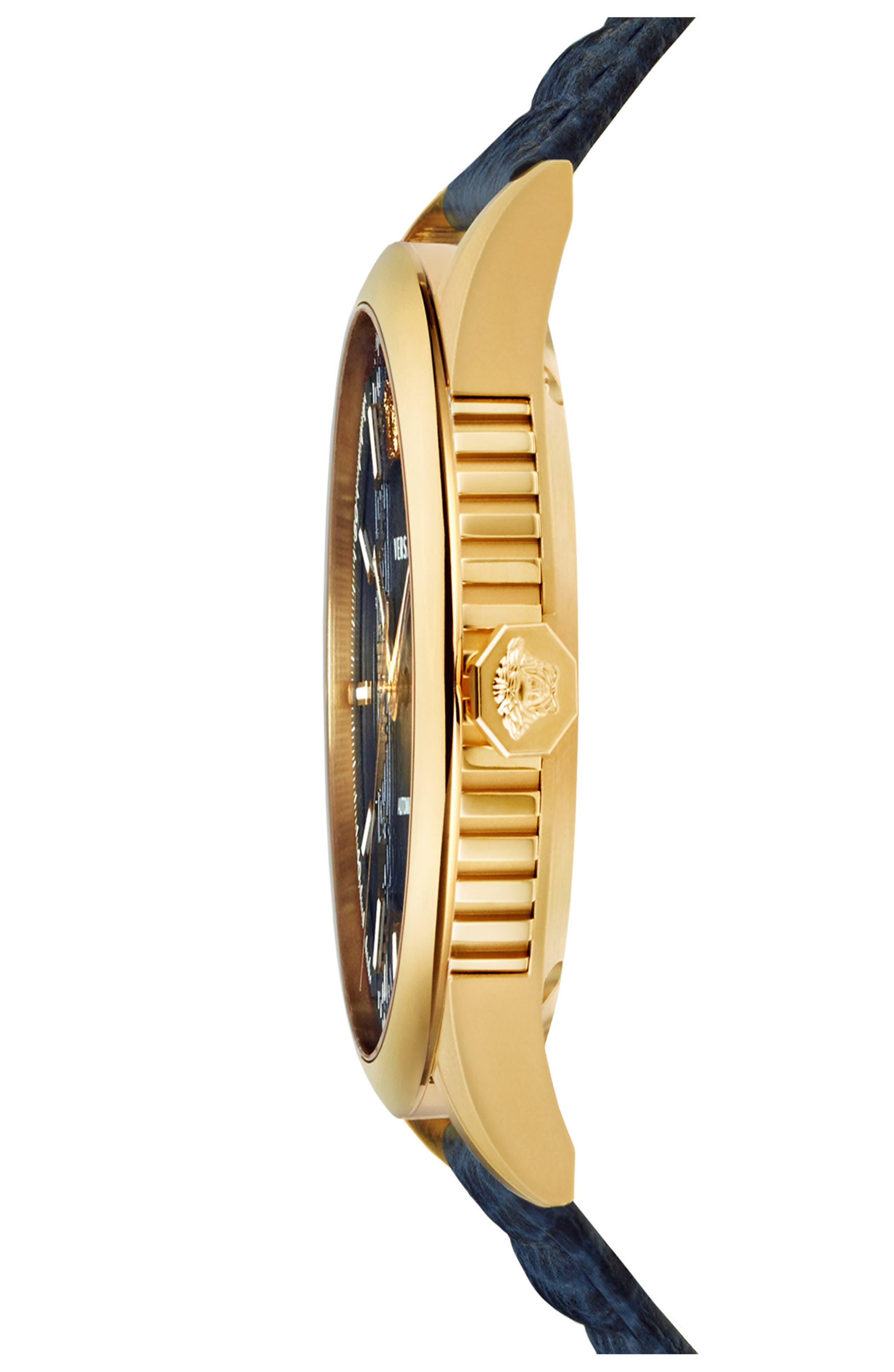 Aiakos Automatic Leather Strap Watch, 44mm,                             Alternate thumbnail 3, color,                             BLUE/ GOLD