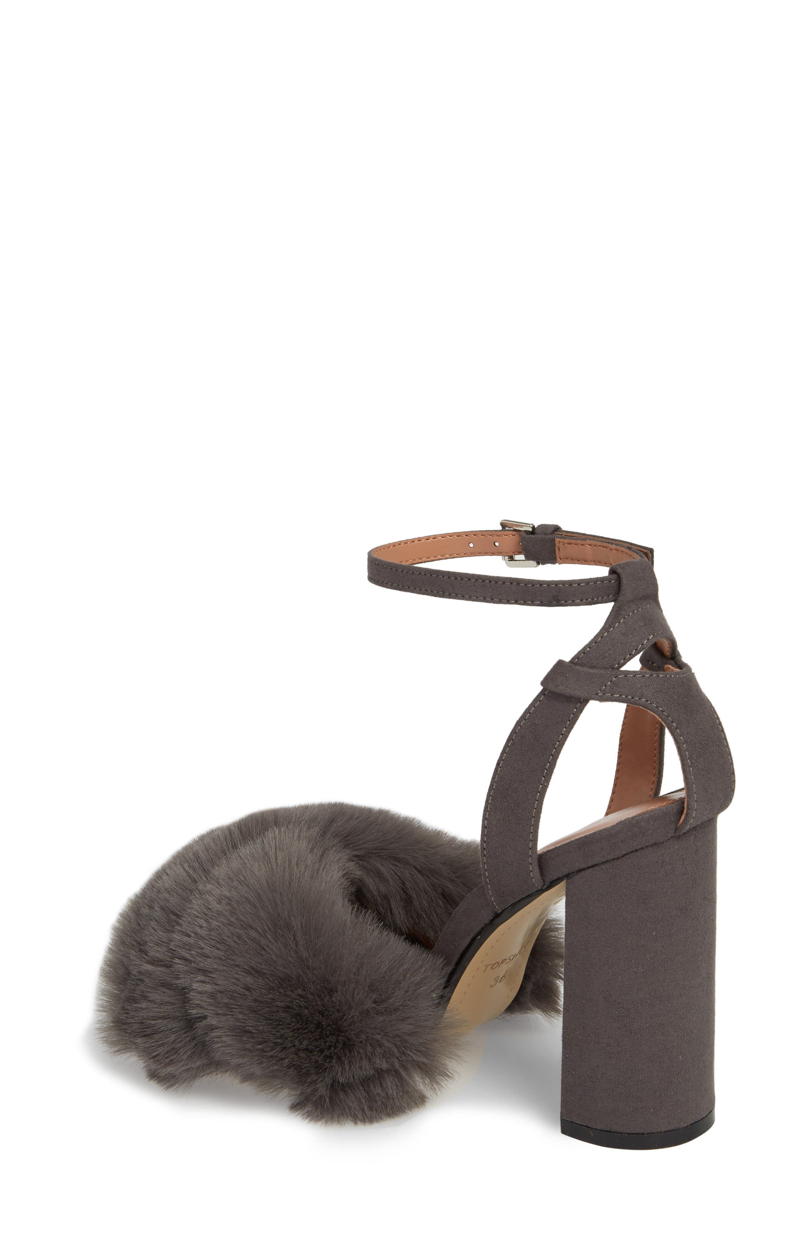 Sassy Faux Fur Sandal,                             Alternate thumbnail 4, color,