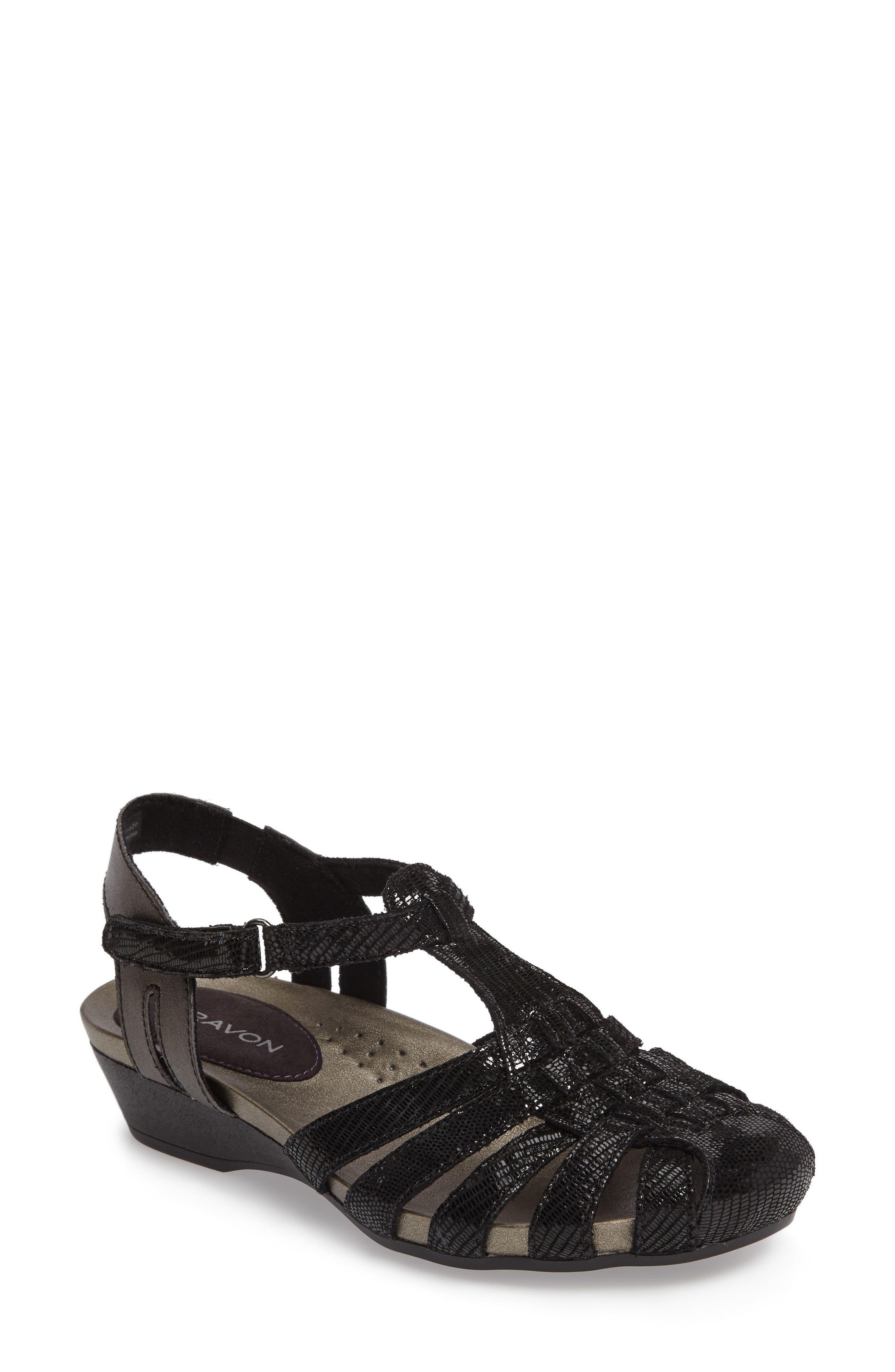 Standon Wedge Sandal,                         Main,                         color, BLACK FABRIC