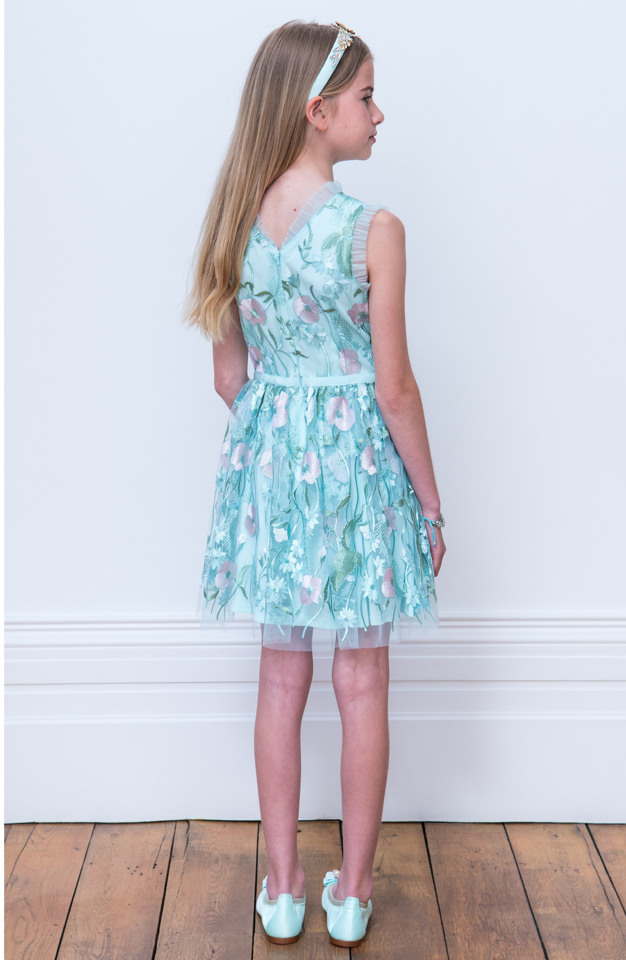 Pastel Embroidered Tulle Dress,                             Alternate thumbnail 4, color,                             BLUE