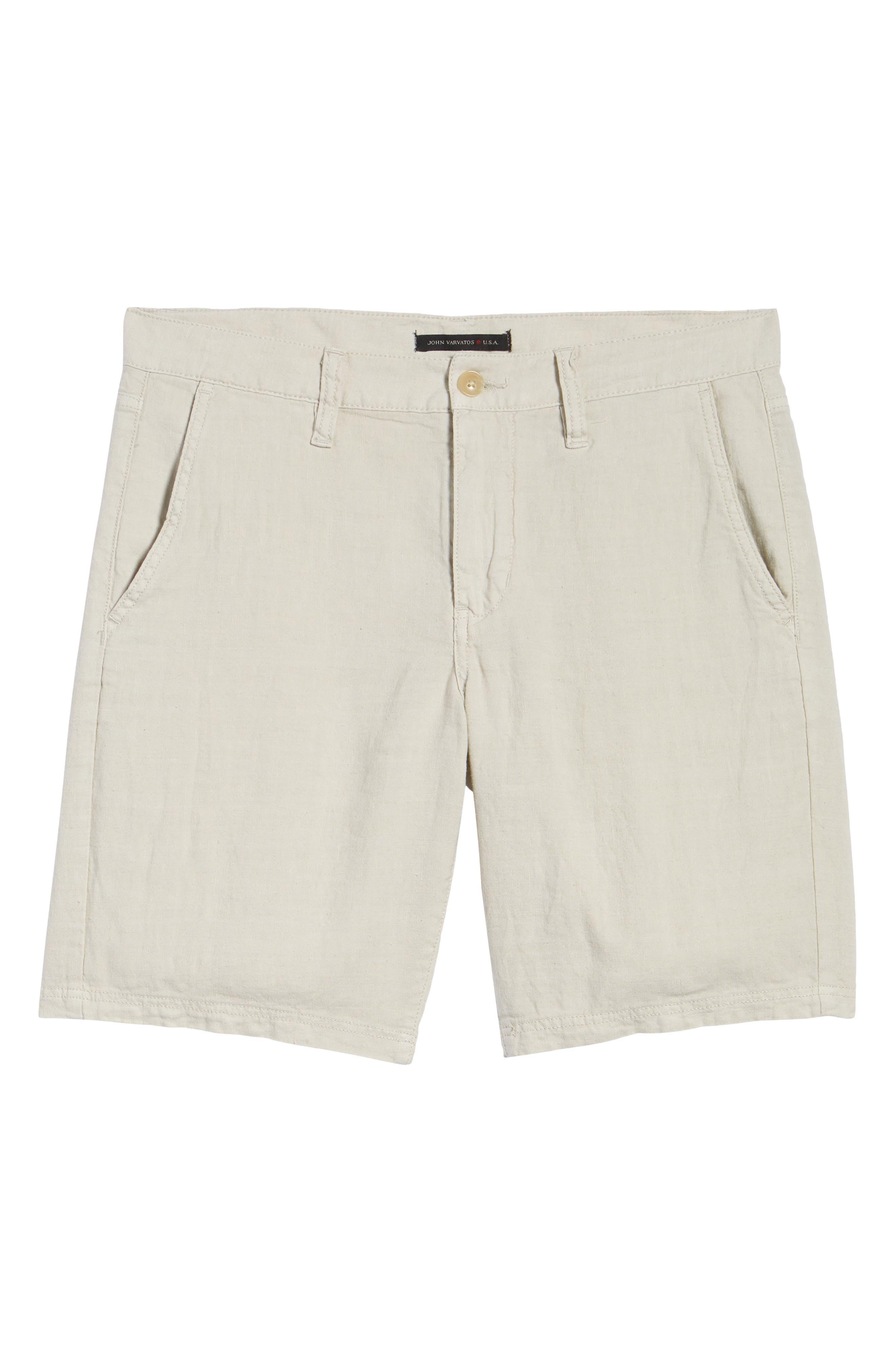Linen Blend Shorts,                             Alternate thumbnail 6, color,                             FOSSIL GREY