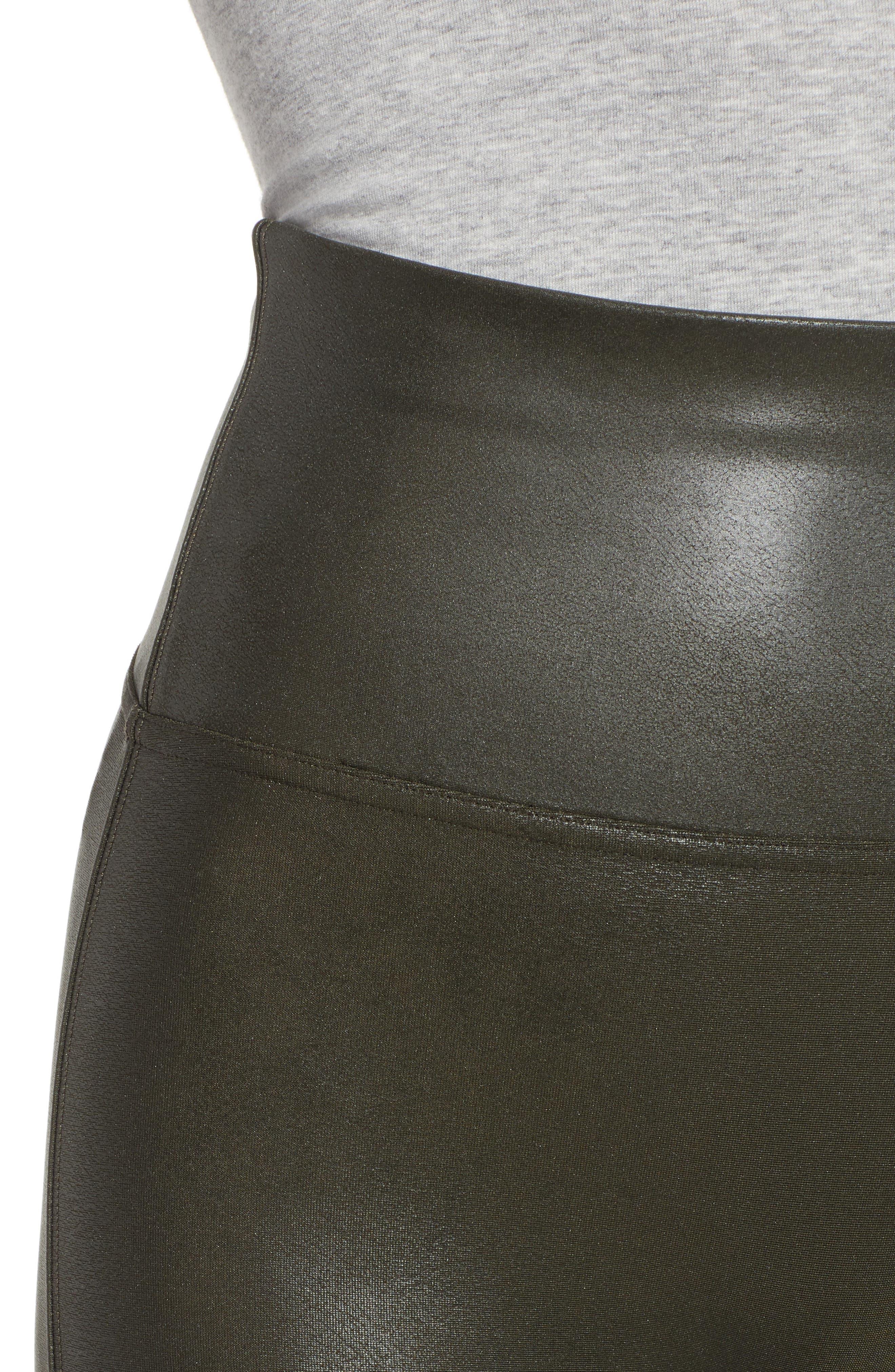 Faux Leather Leggings,                             Alternate thumbnail 4, color,                             DEEP OLIVE