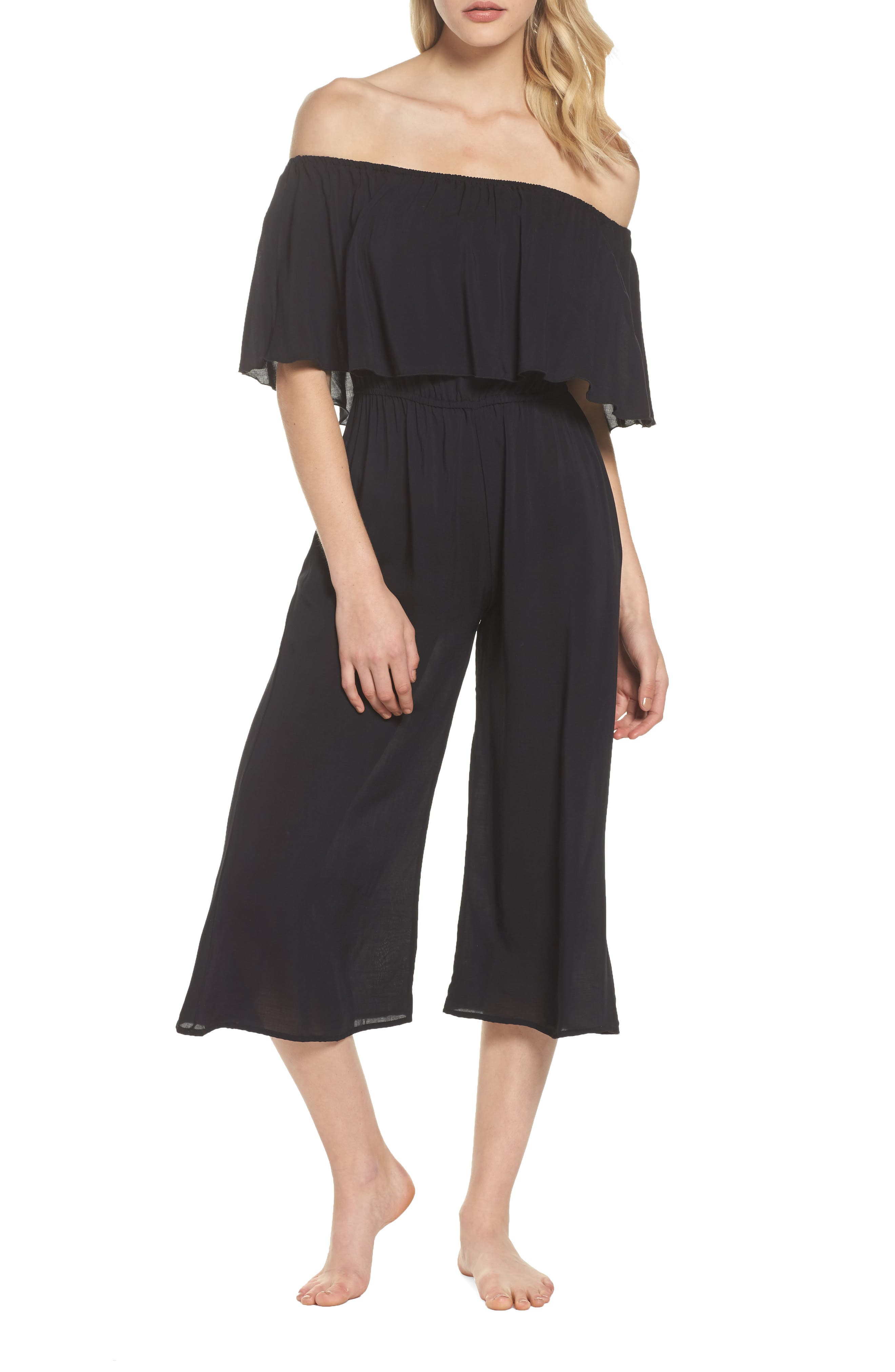 Off the Shoulder Cover-Up Jumpsuit,                         Main,                         color, BLACK
