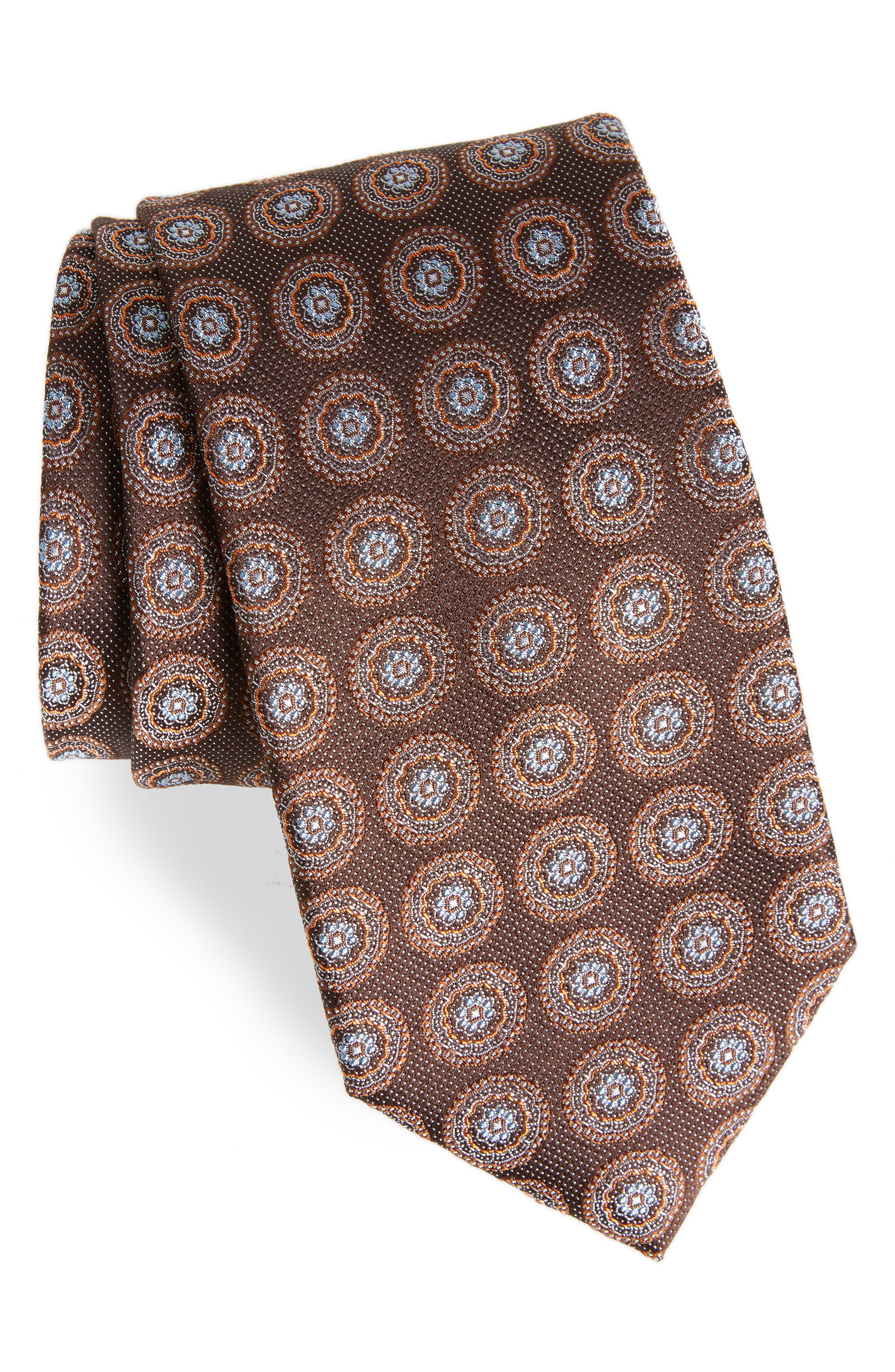 Pinpoint Medallion Silk Tie,                         Main,                         color, 200