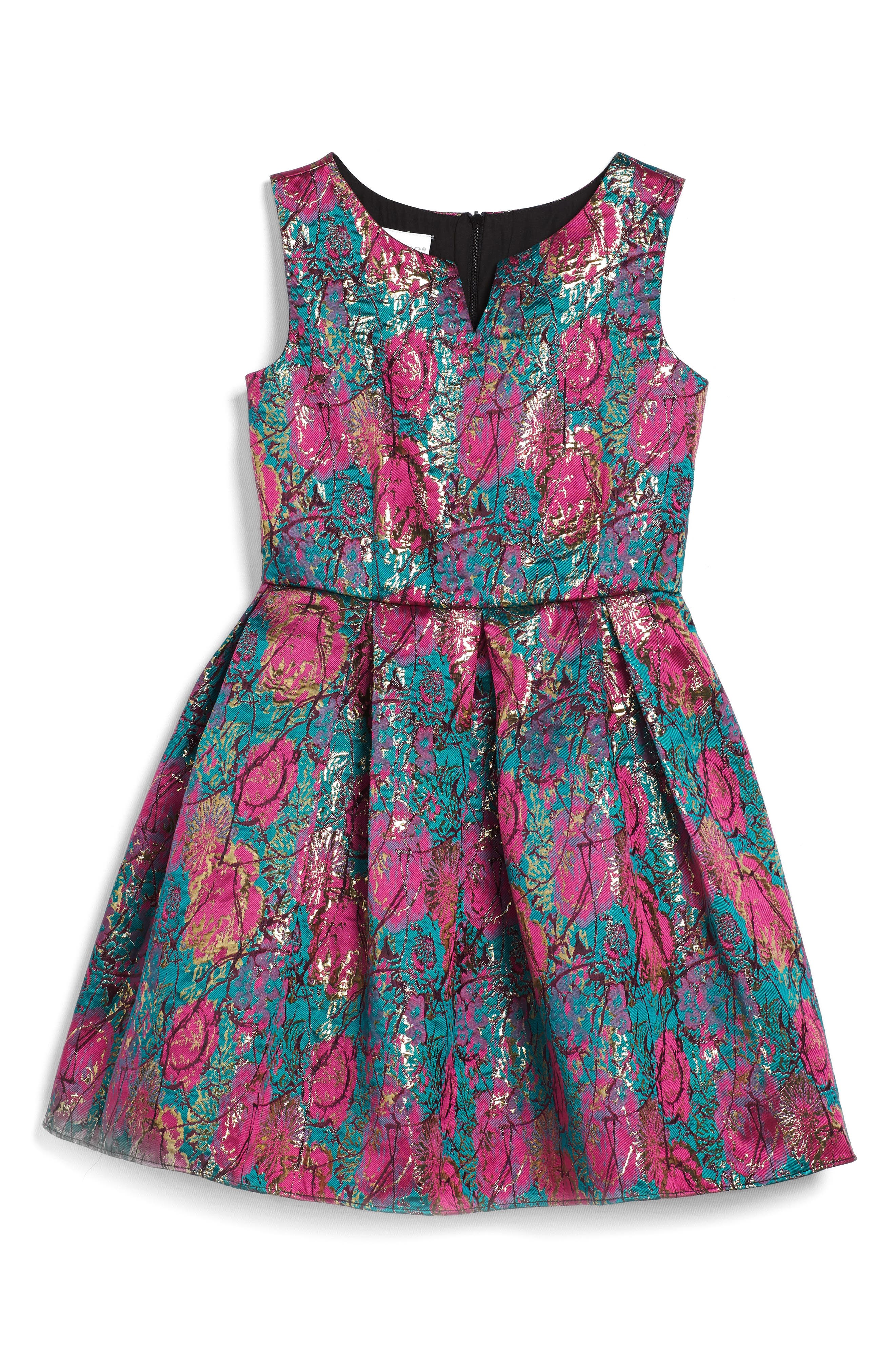 Floral Brocade Fit & Flare Dress,                             Main thumbnail 1, color,                             670