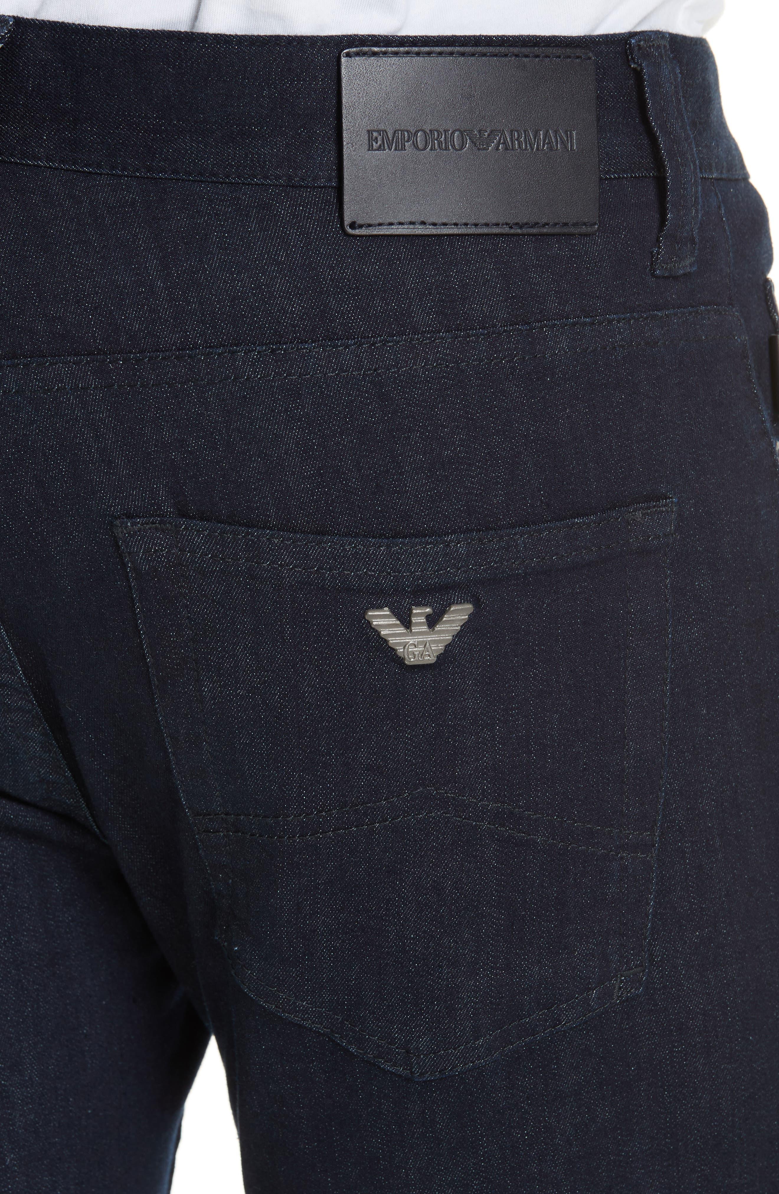 Straight Leg Stretch Jeans,                             Alternate thumbnail 5, color,                             DARK BLUE