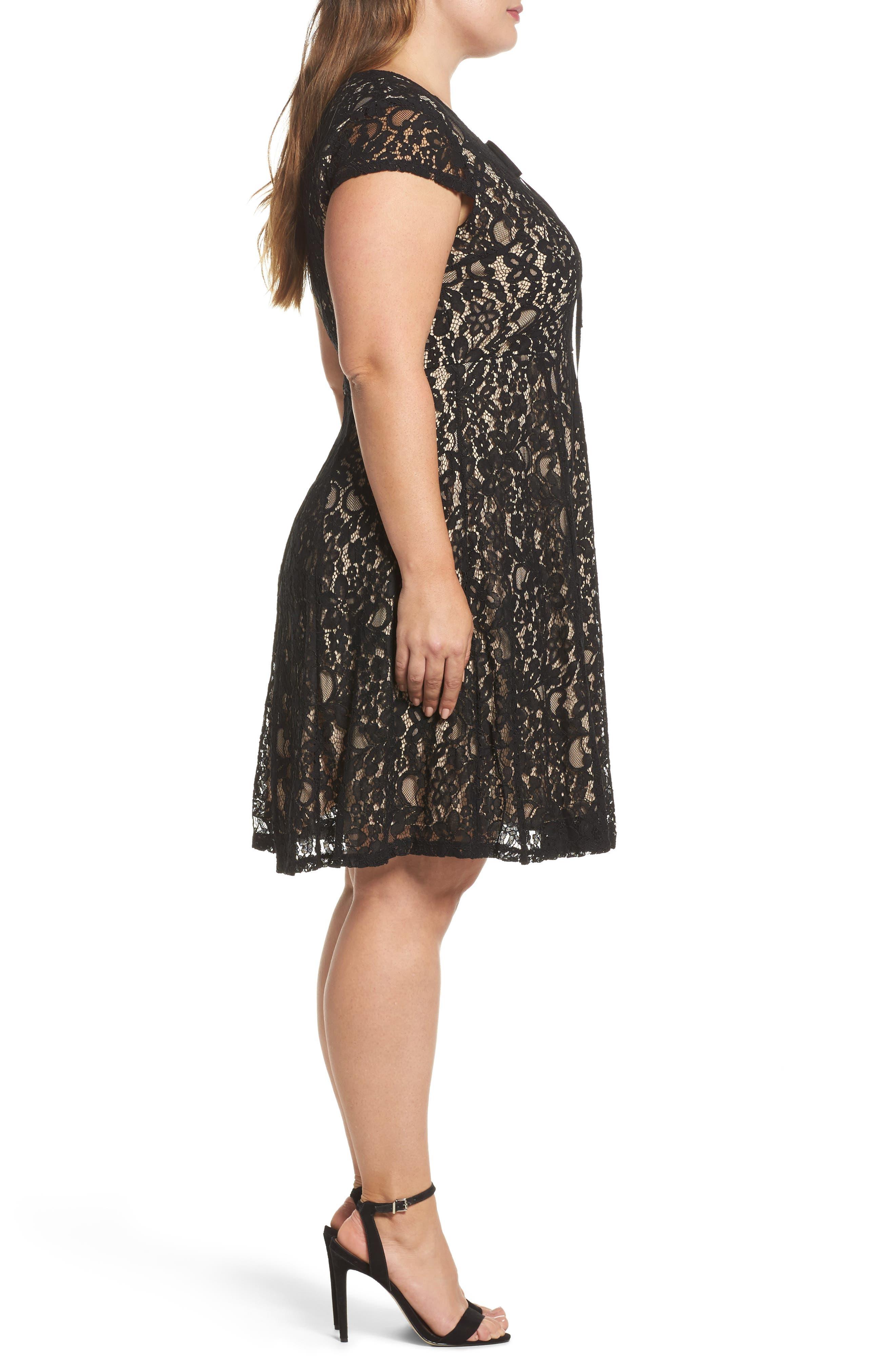 Tie Front Lace Dress,                             Alternate thumbnail 3, color,                             001