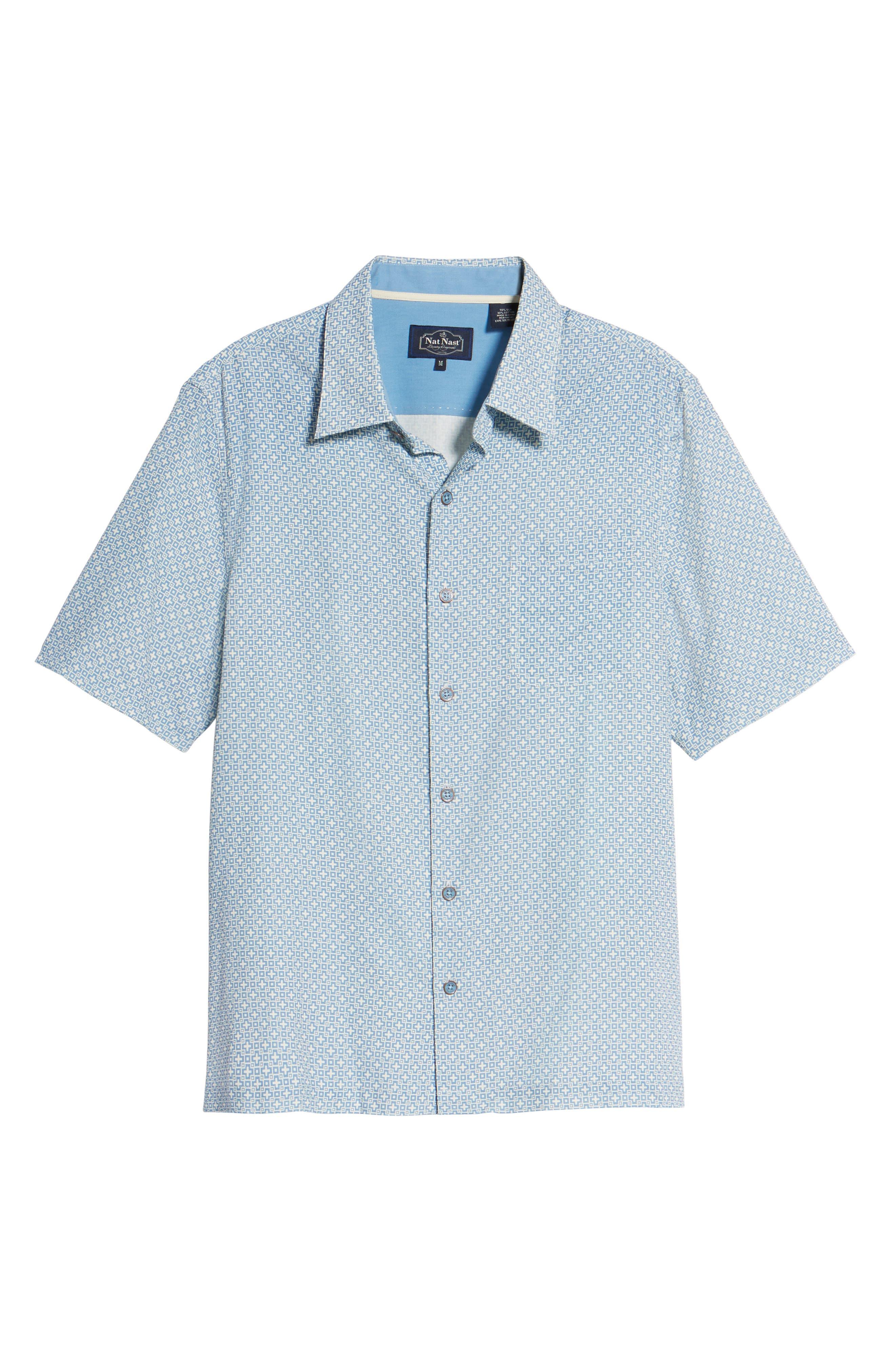Everest Print Silk Blend Sport Shirt,                             Alternate thumbnail 17, color,