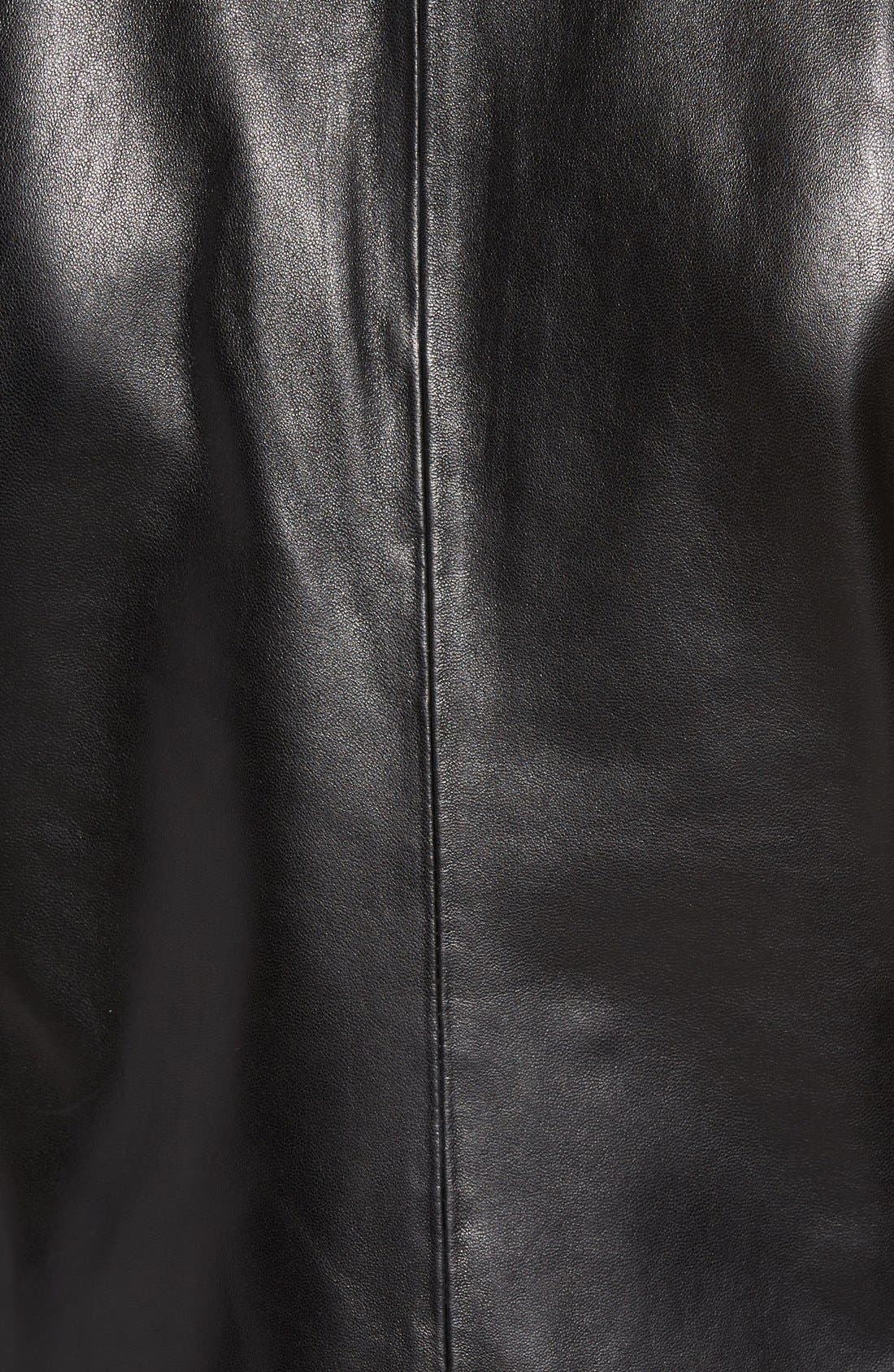Wing Collar Leather Jacket,                             Alternate thumbnail 5, color,                             001