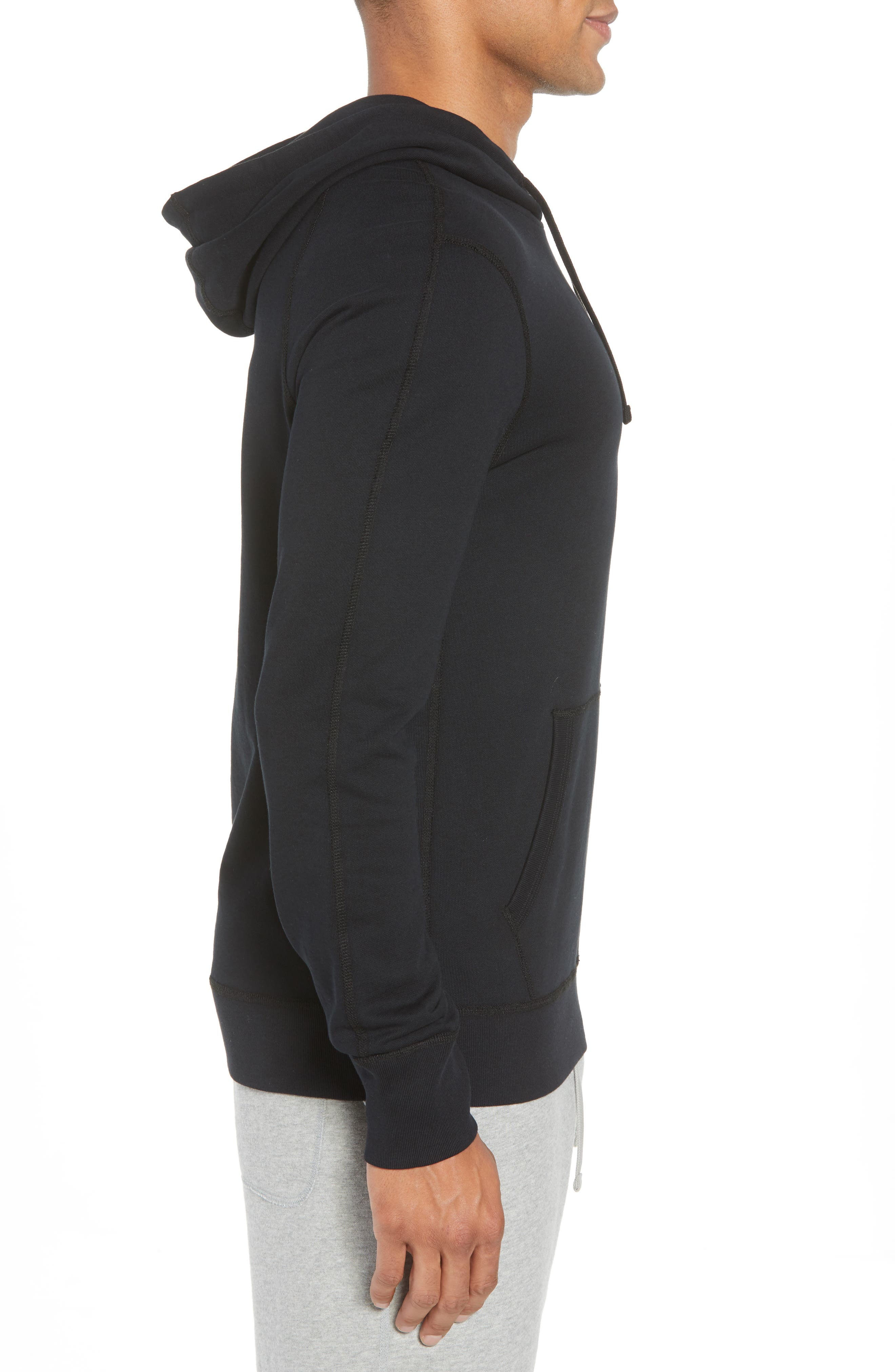 Classic Fit Hooded Pullover,                             Alternate thumbnail 3, color,                             BLACK