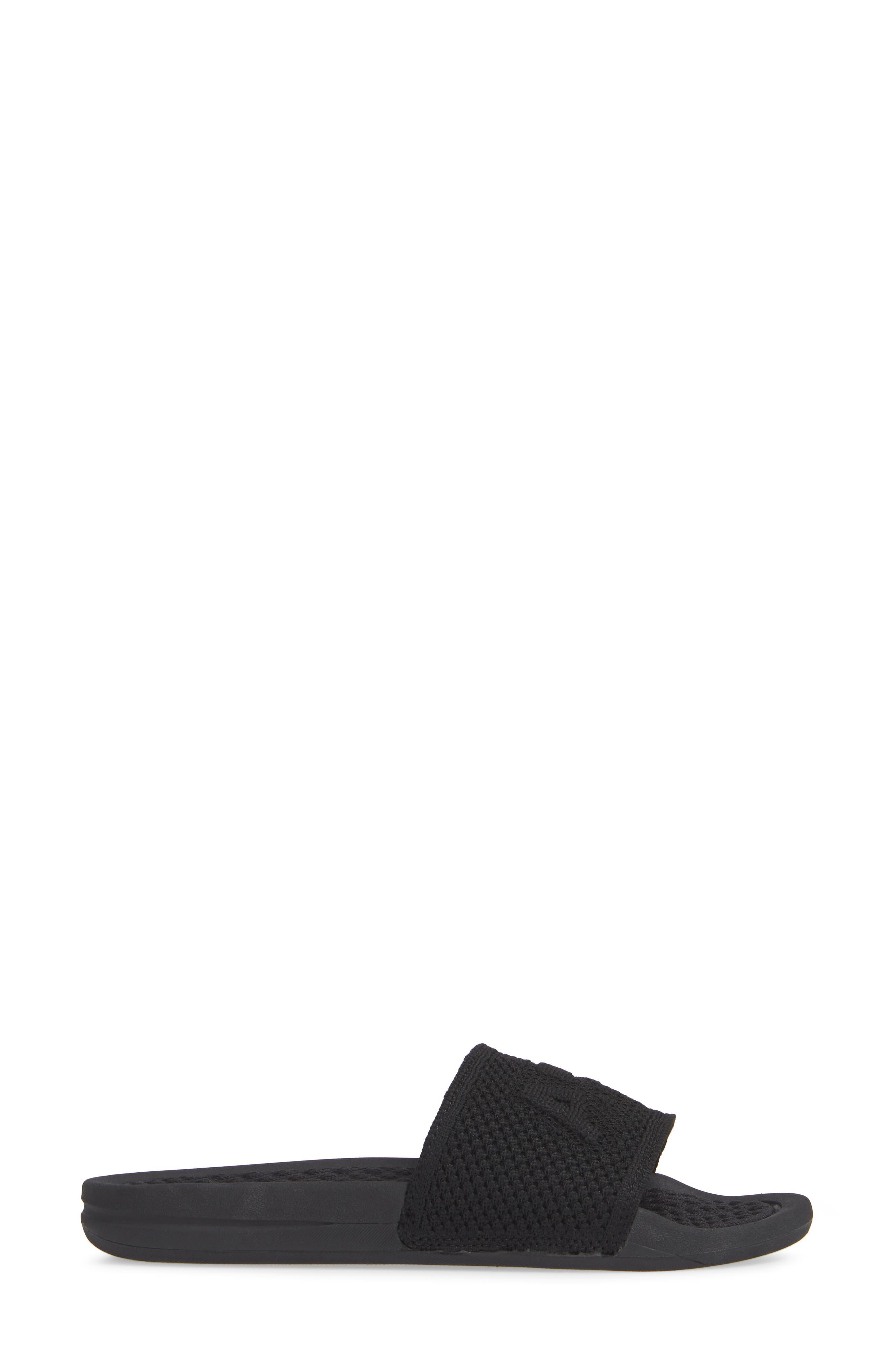 Big Logo Techloom Slide Sandal,                             Alternate thumbnail 3, color,                             BLACK