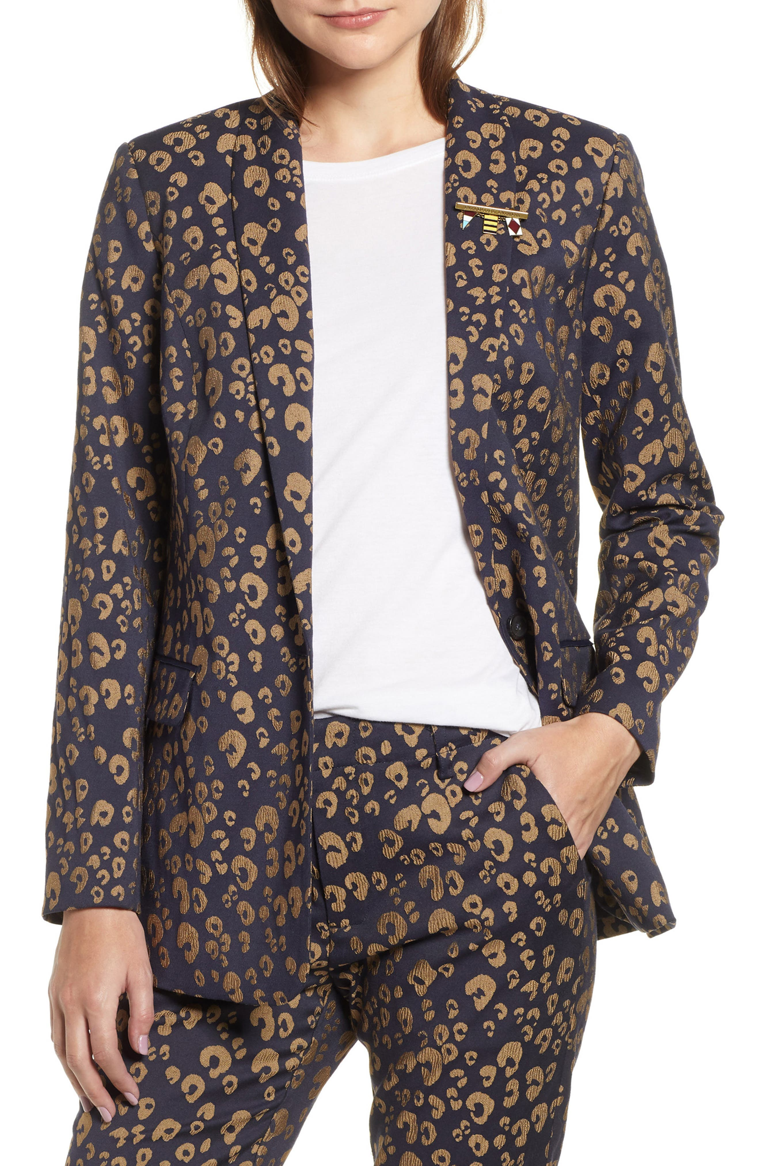 Stretch Jacquard Tailored Blazer,                             Main thumbnail 1, color,                             NAVY W/ GOLD LEOPARD PRINT