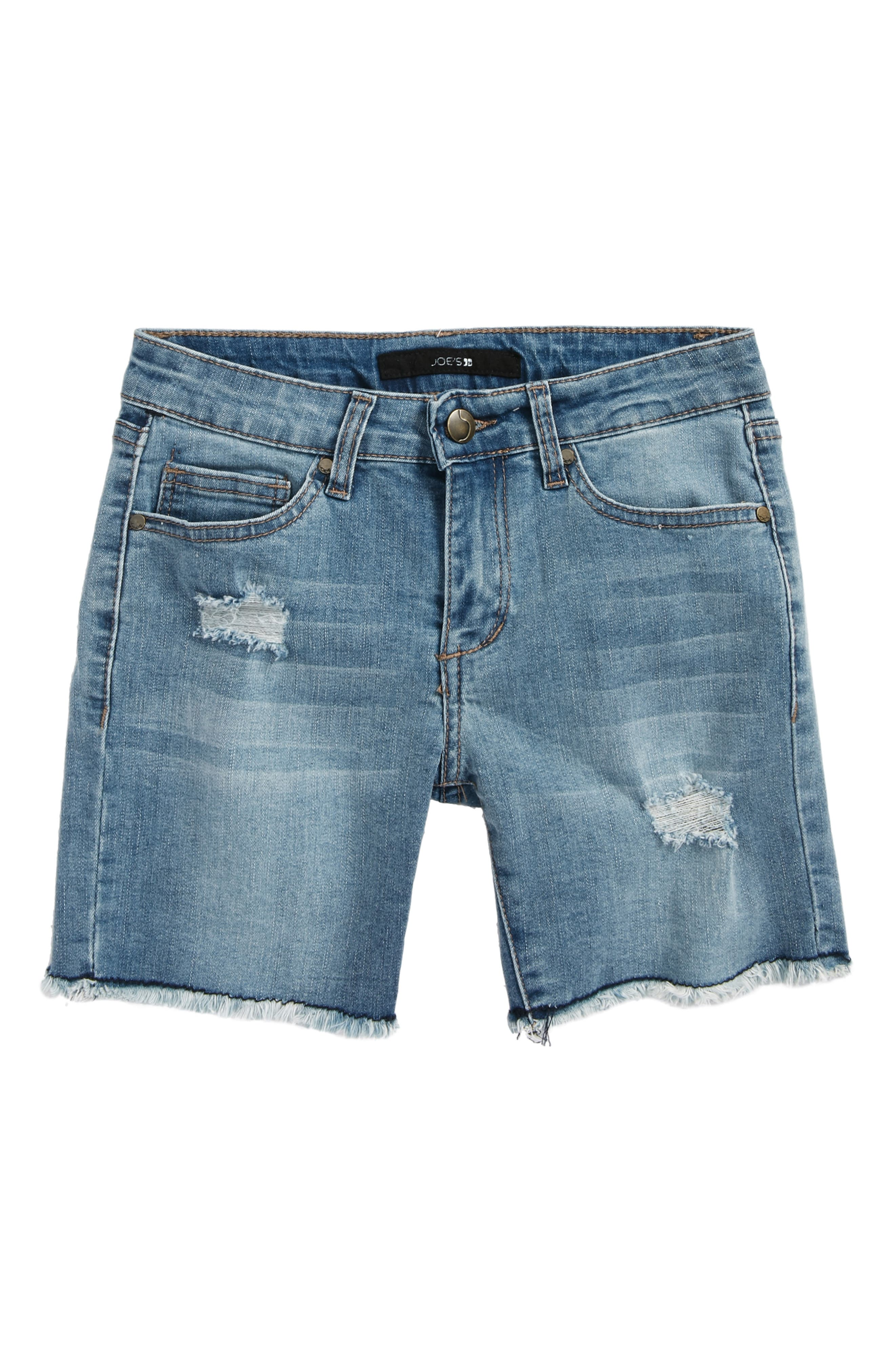 Frayed Mid Rise Bermuda Denim Shorts,                         Main,                         color, MDW-MEDIUM WASH