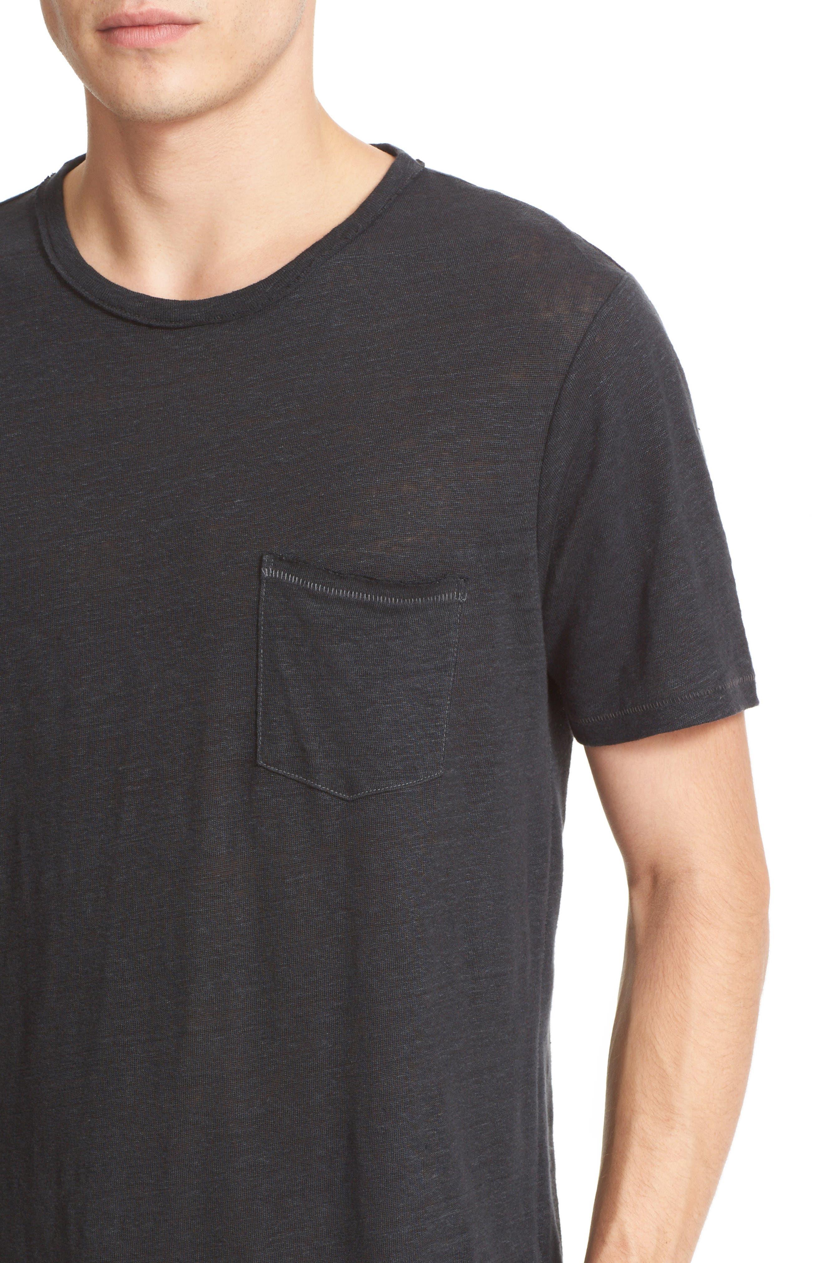 Owen Slub Linen T-Shirt,                             Alternate thumbnail 4, color,                             001