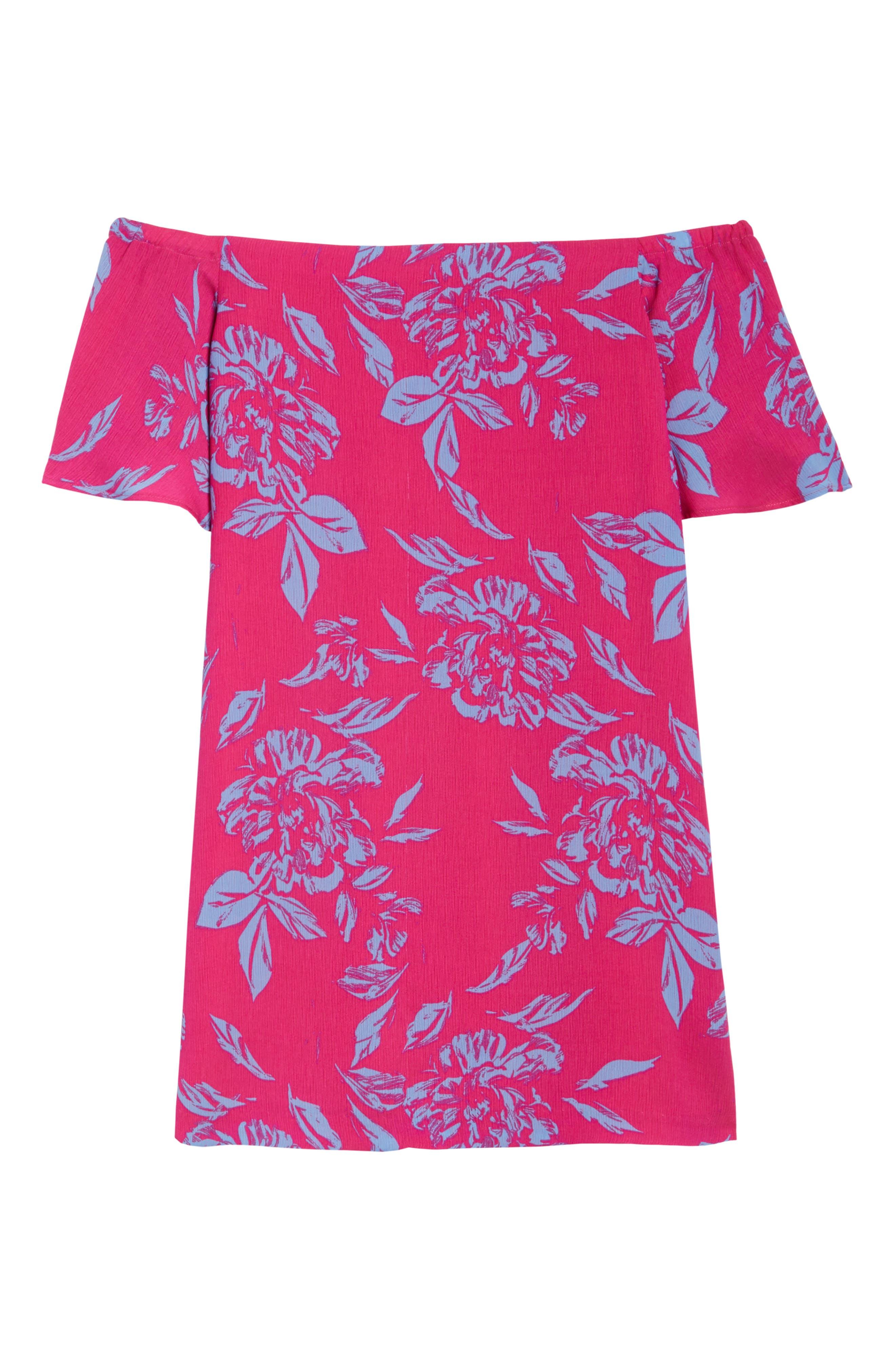 Off the Shoulder Print Shift Dress,                             Alternate thumbnail 6, color,