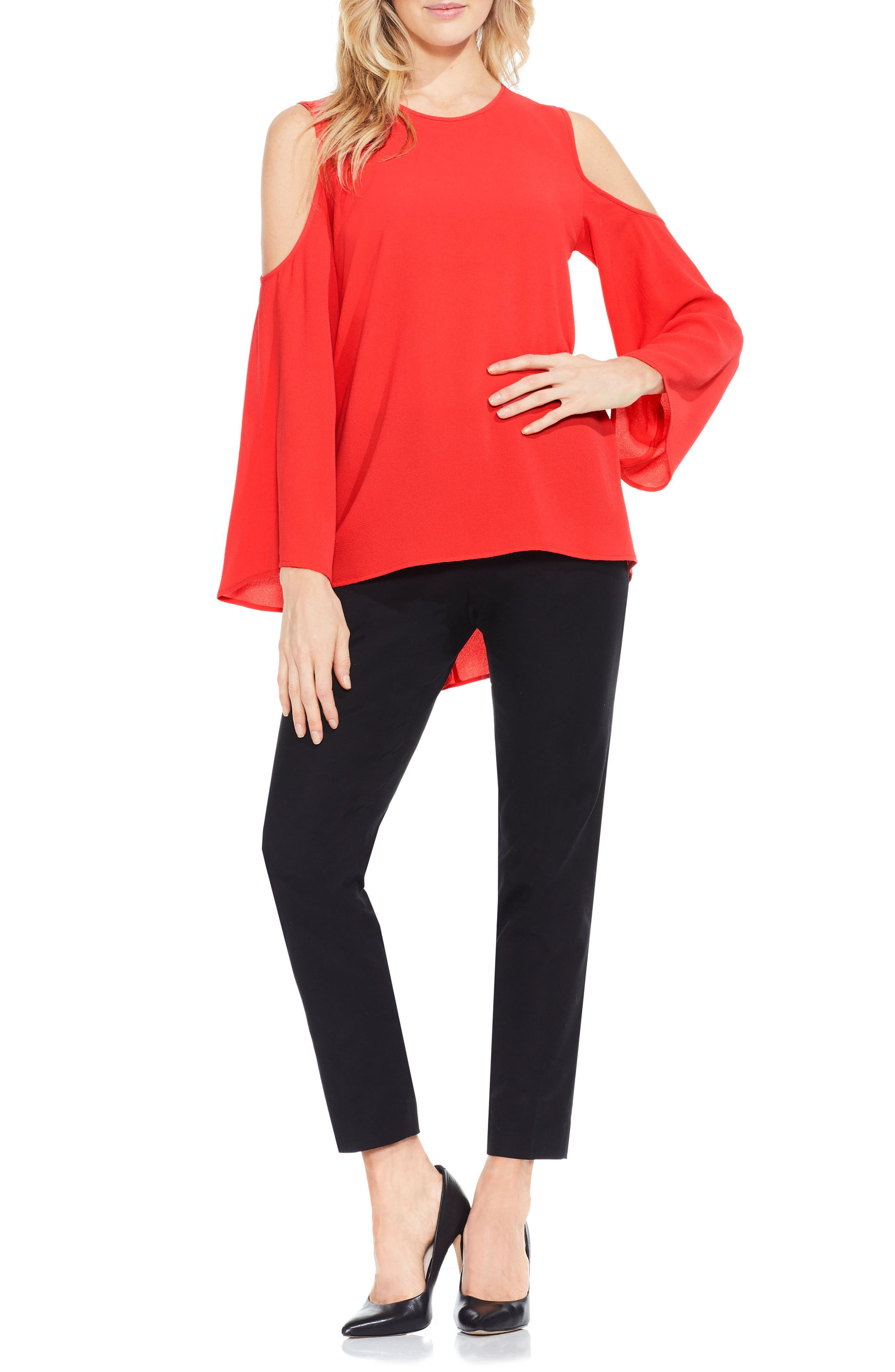 Bell Sleeve Cold Shoulder Blouse,                             Main thumbnail 6, color,