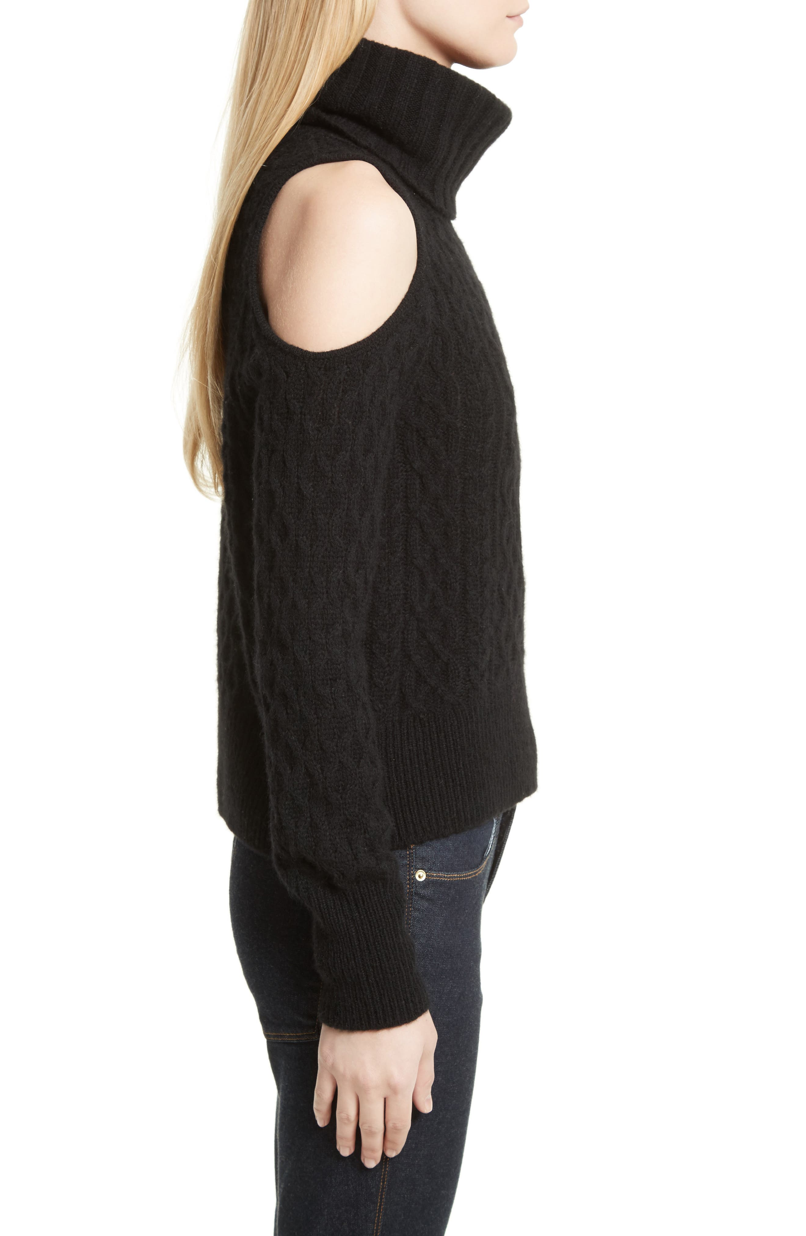 Cold Shoulder Cable Knit Sweater,                             Alternate thumbnail 3, color,                             001