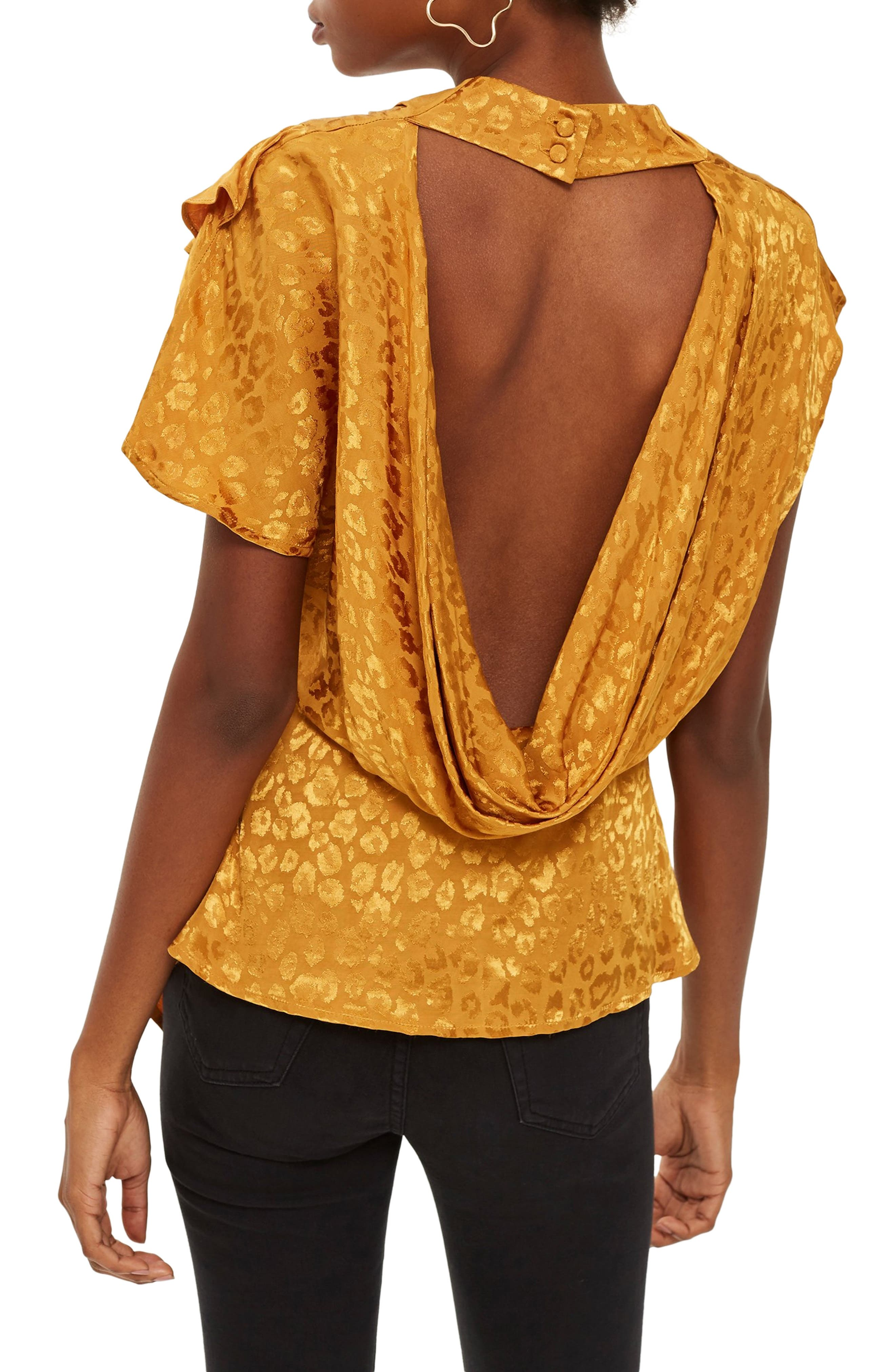 Jacquard Ruffle Blouse,                             Alternate thumbnail 2, color,                             MUSTARD