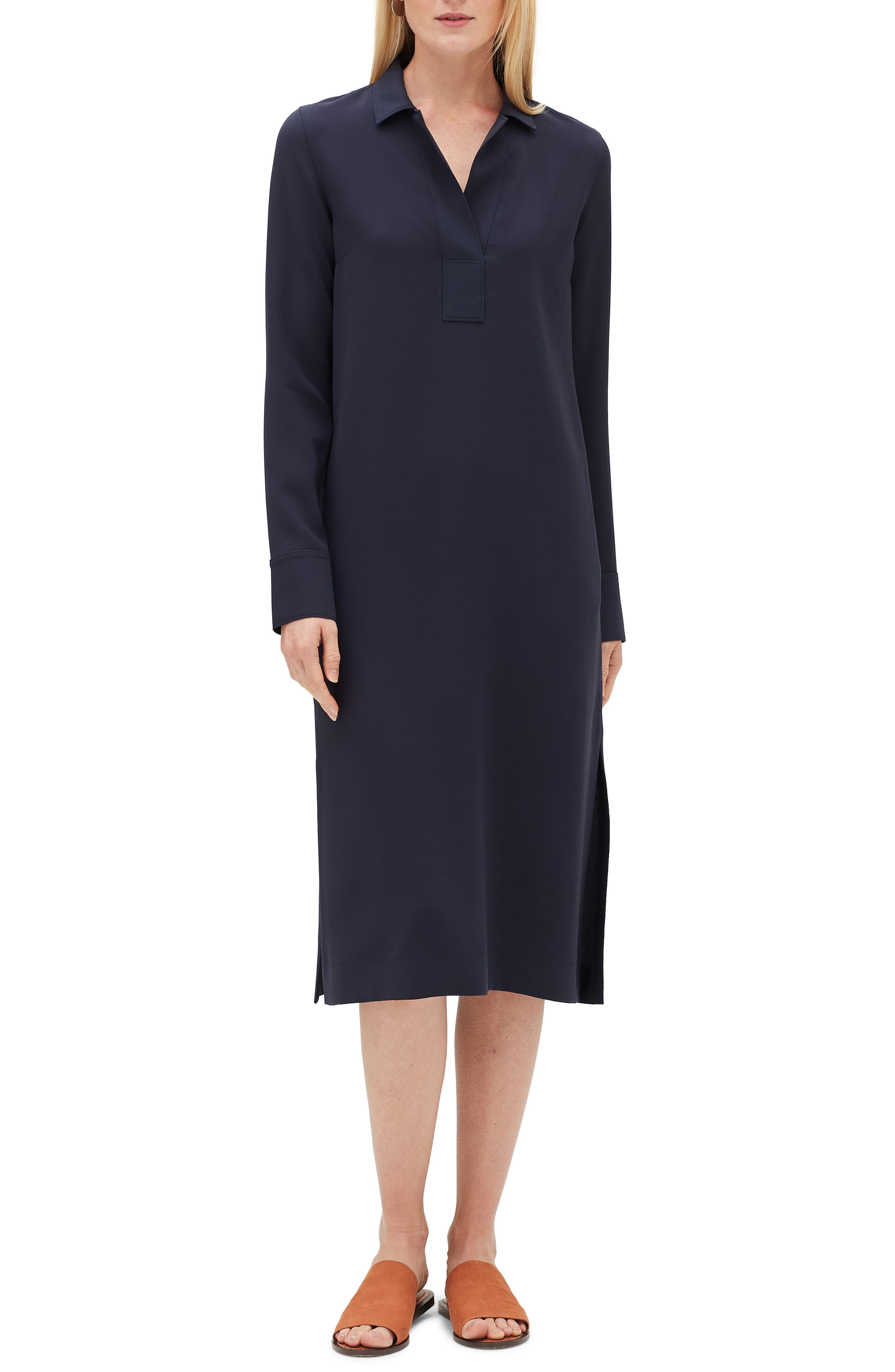 Lafayette 148 New York Hansel Finesse Crepe Dress, Blue