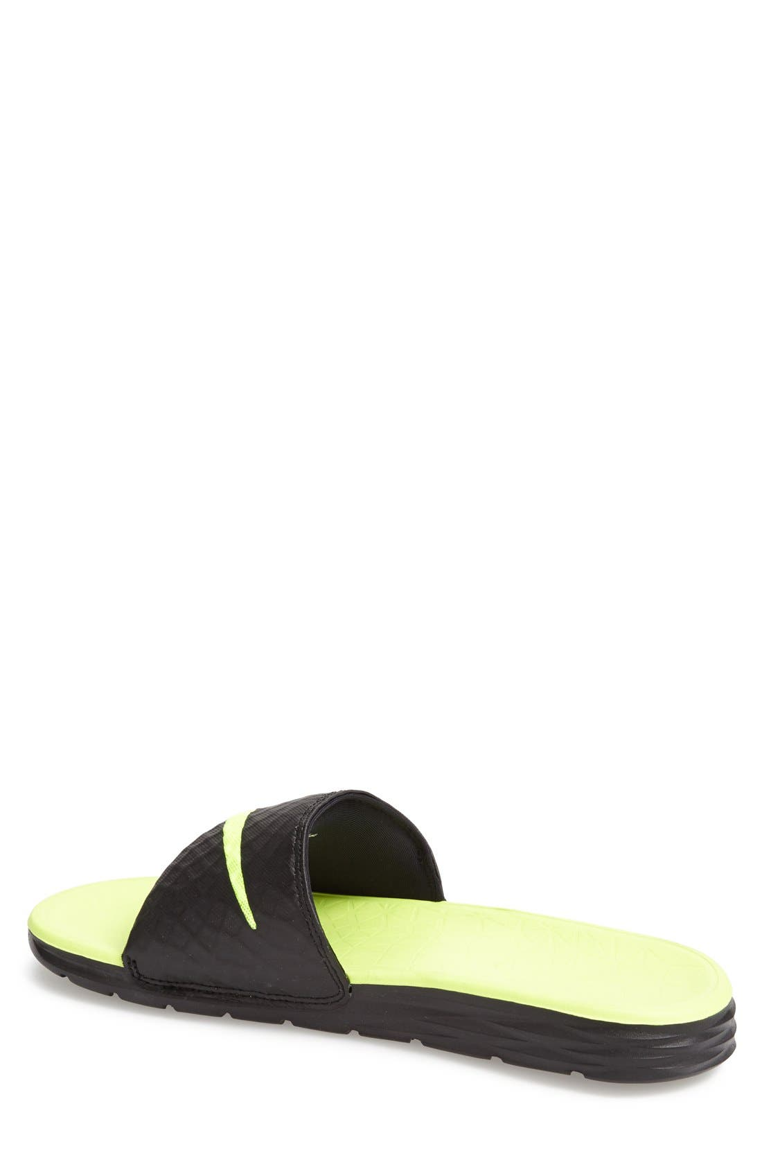 'Benassi Solarsoft 2' Slide Sandal,                             Alternate thumbnail 2, color,                             BLACK/ VOLT