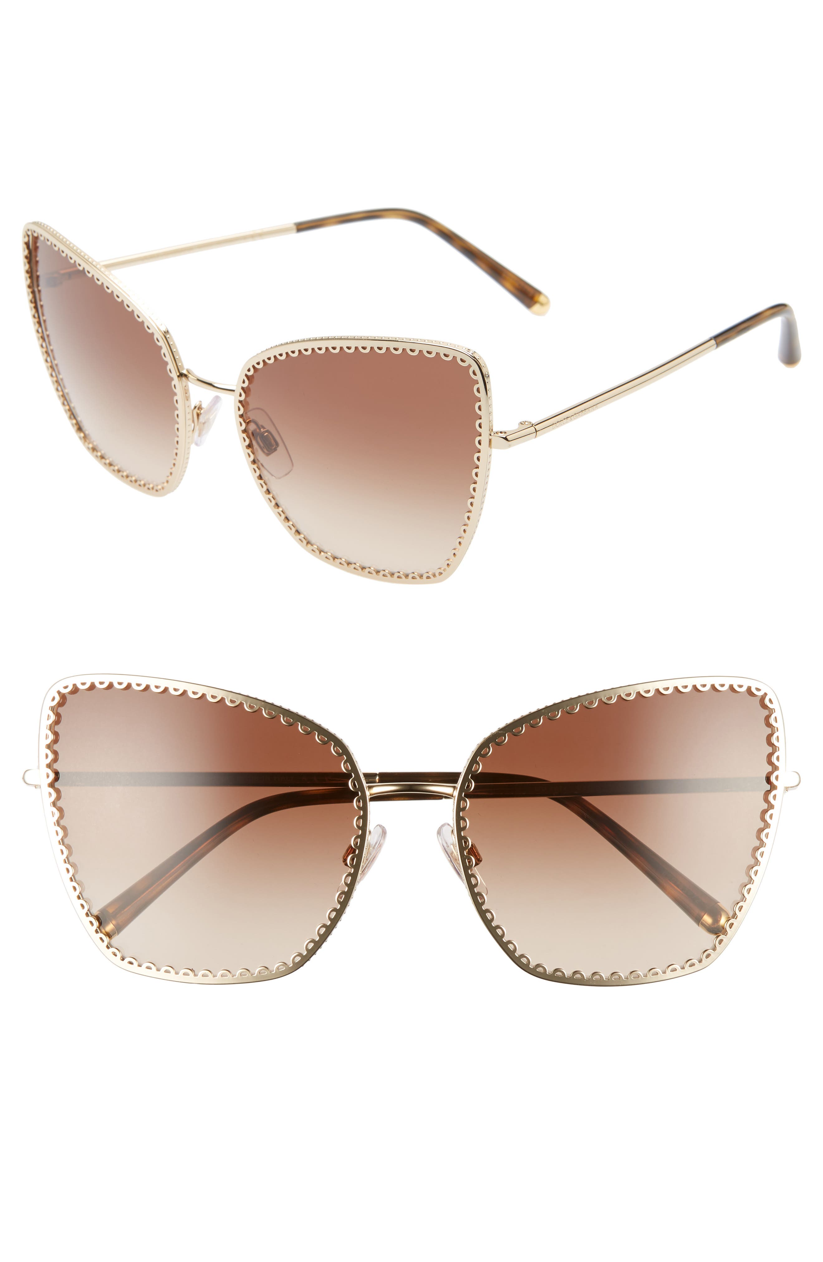 Dolce & gabbana Sacred Heart 61Mm Gradient Cat Eye Sunglasses - Gold Gradient