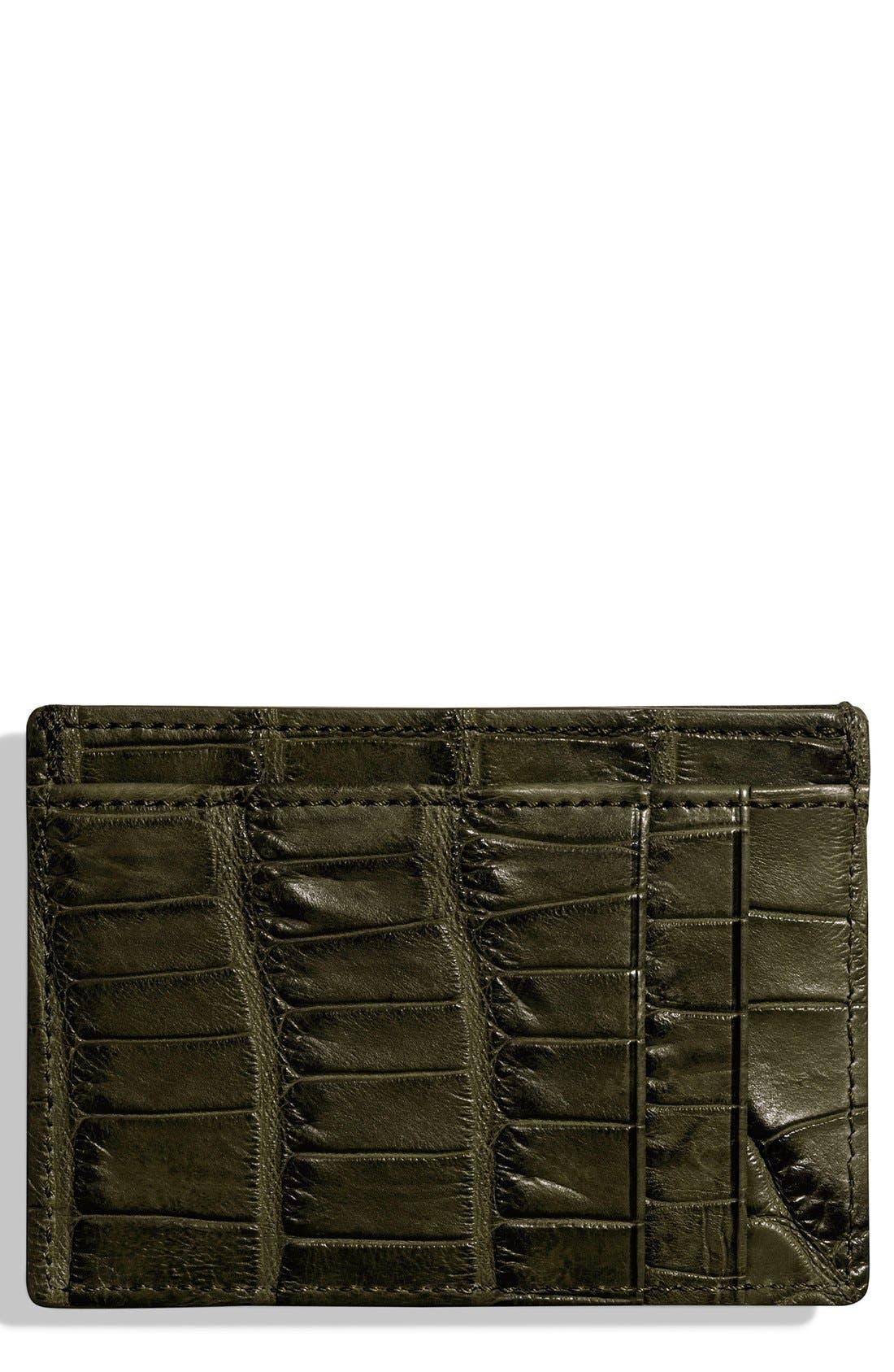 Alligator Leather Card Case,                             Main thumbnail 3, color,