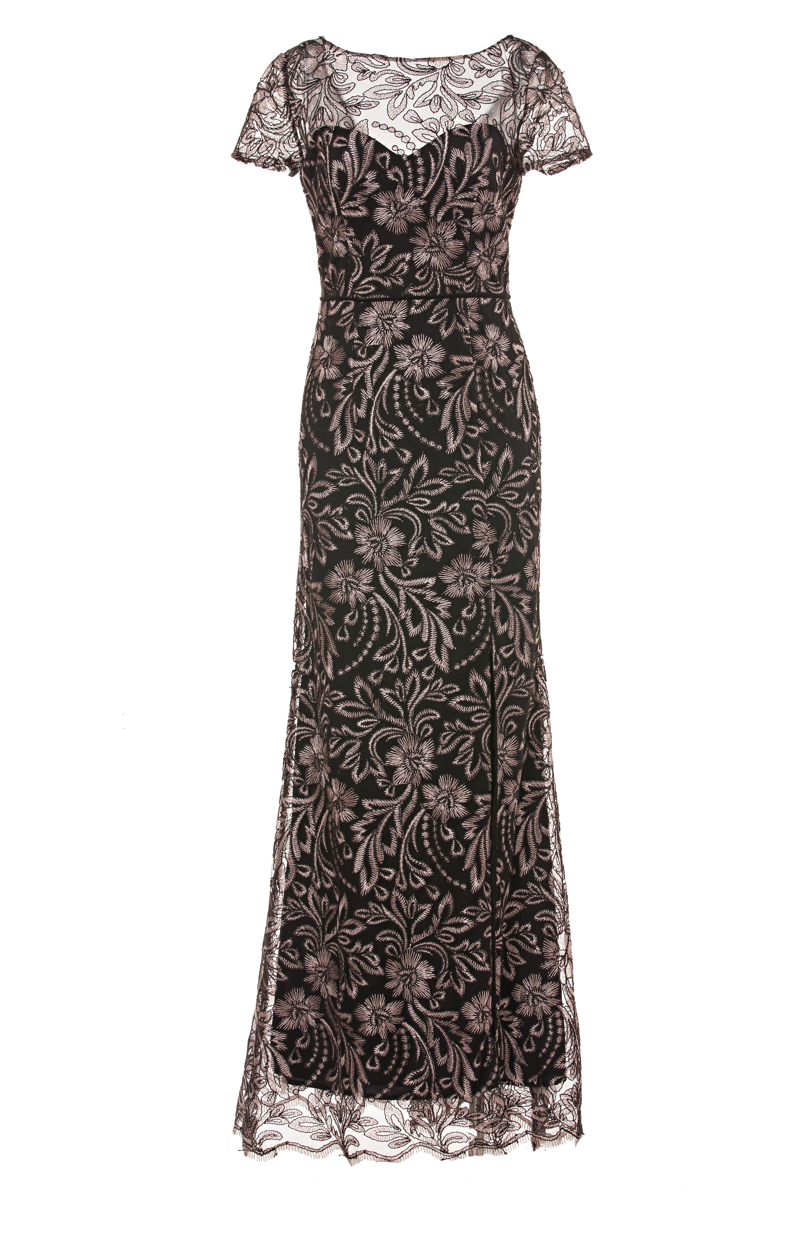 JS COLLECTIONS,                             Embroidered Trumpet Gown,                             Alternate thumbnail 3, color,                             001