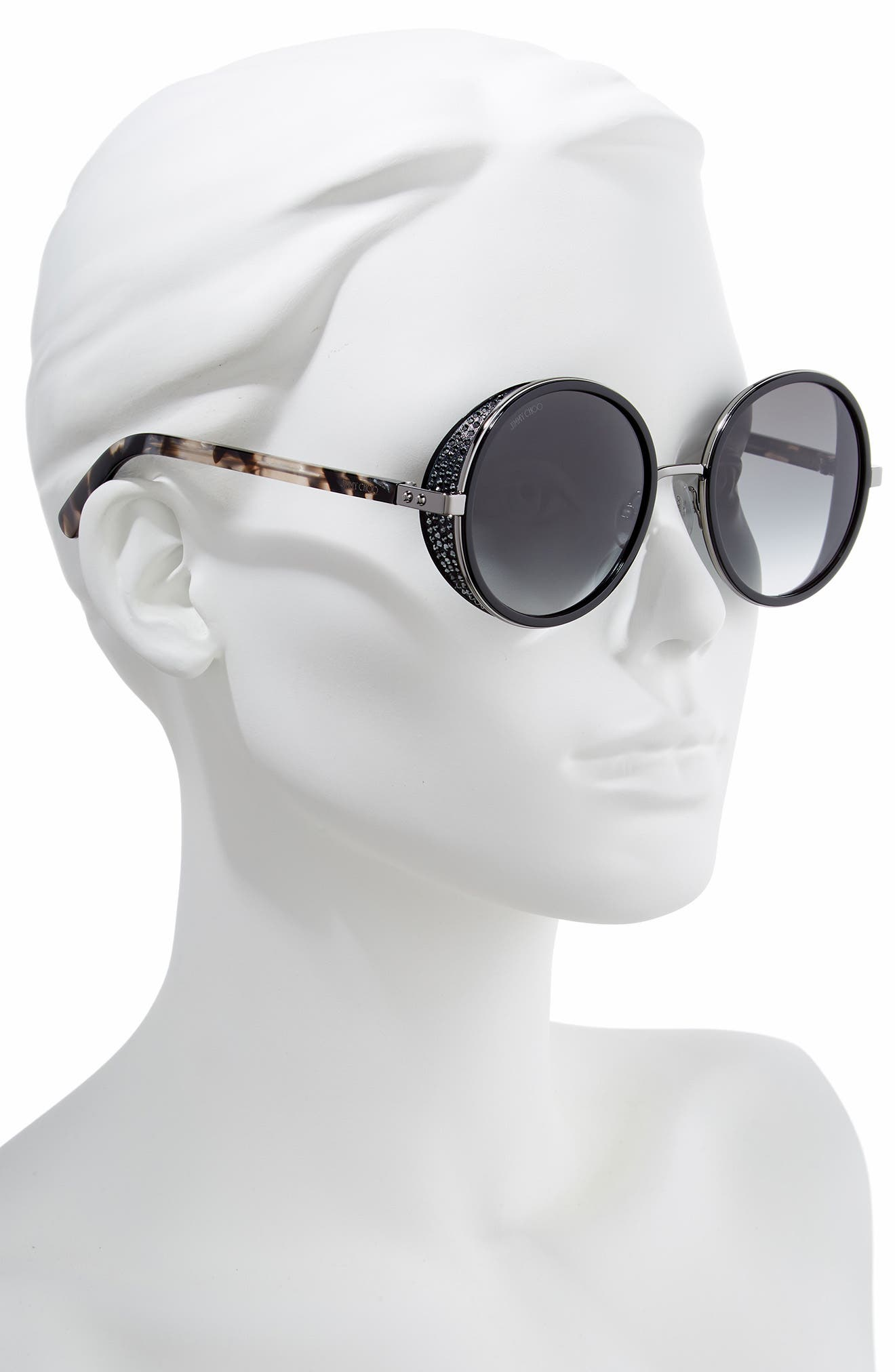 Andiens 54mm Round Sunglasses,                             Alternate thumbnail 2, color,                             BLACK