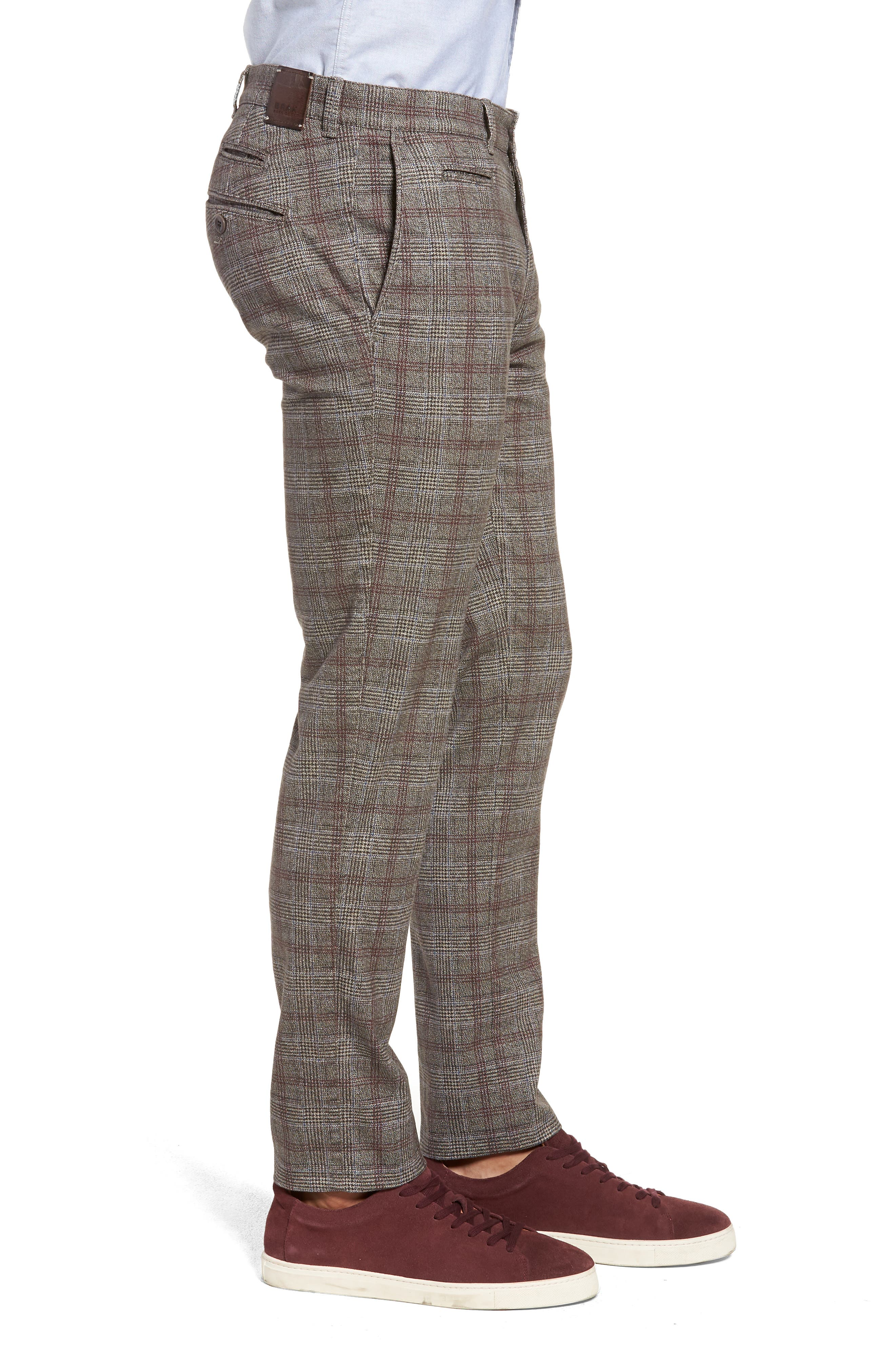 Woolook Slim Fit Check Flat Front Pants,                             Alternate thumbnail 3, color,                             BEIGE