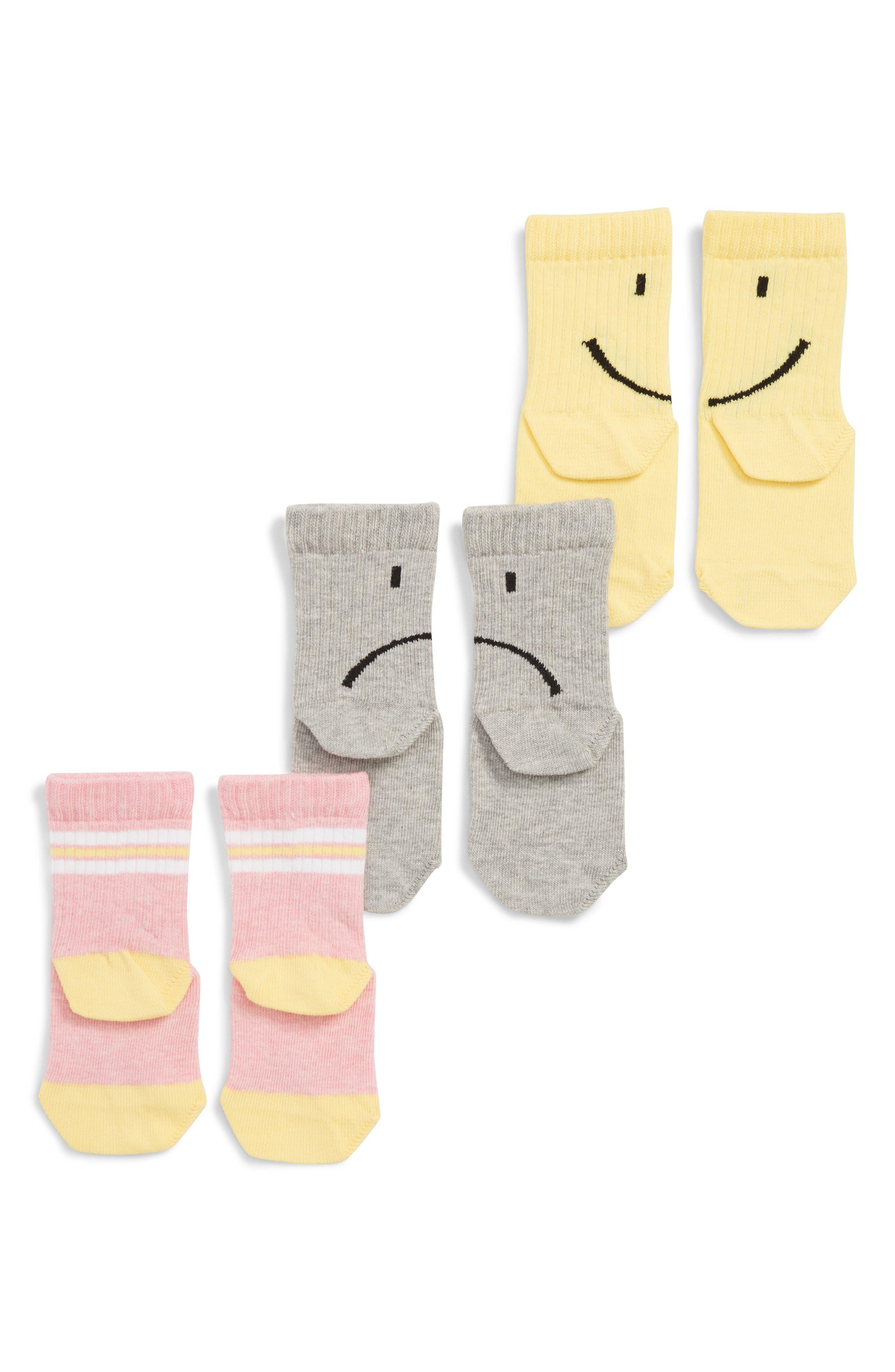 Smile 3-Pack Crew Socks,                             Alternate thumbnail 2, color,                             YELLOW MULTI