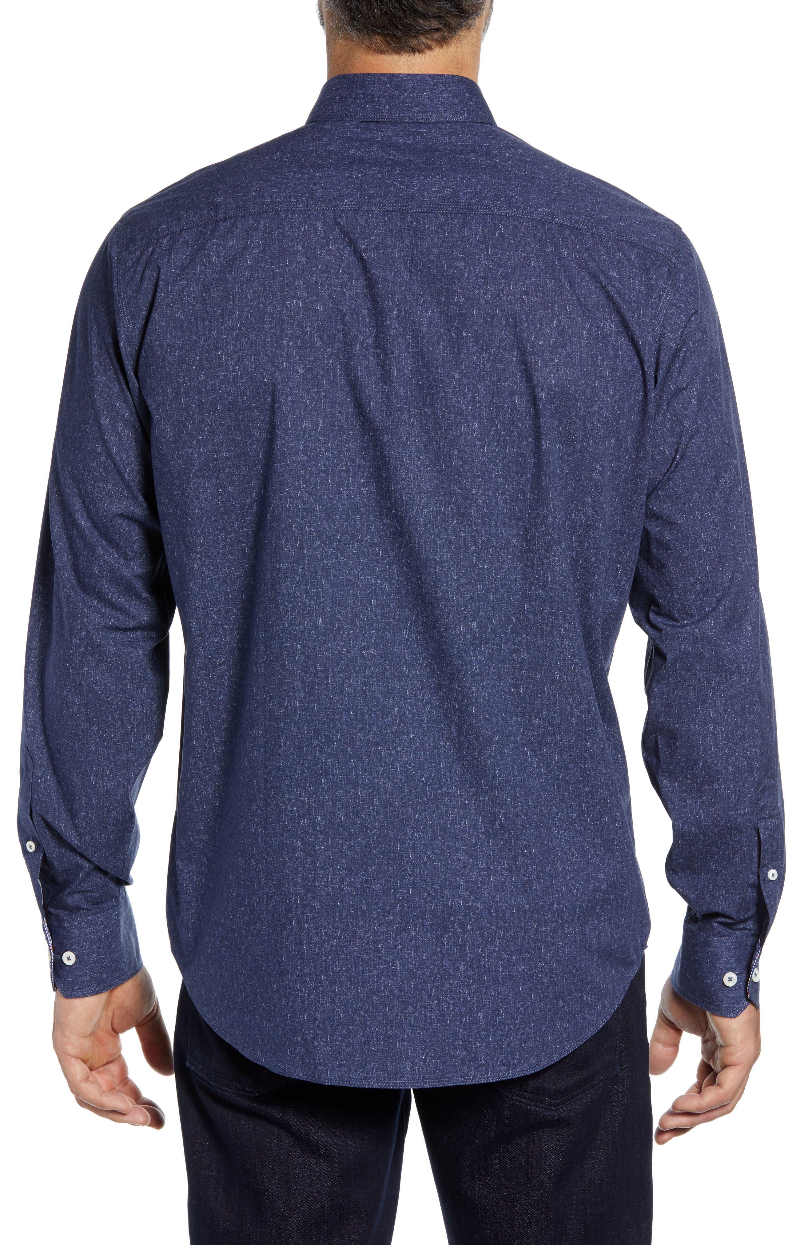 Classic Fit Mélange Sport Shirt,                             Alternate thumbnail 3, color,                             NAVY