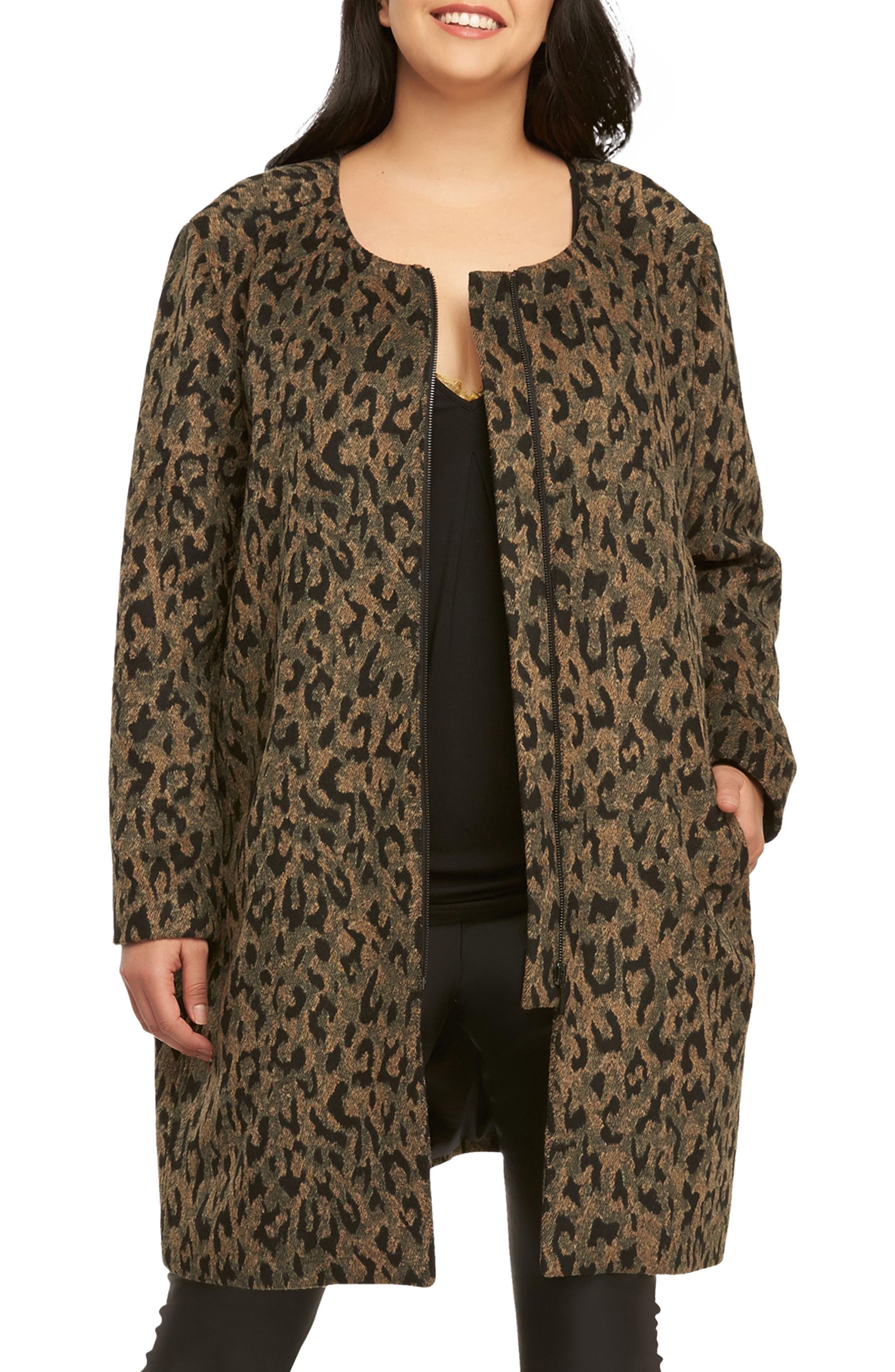 Ashton Leopard Print Coat,                         Main,                         color, 208